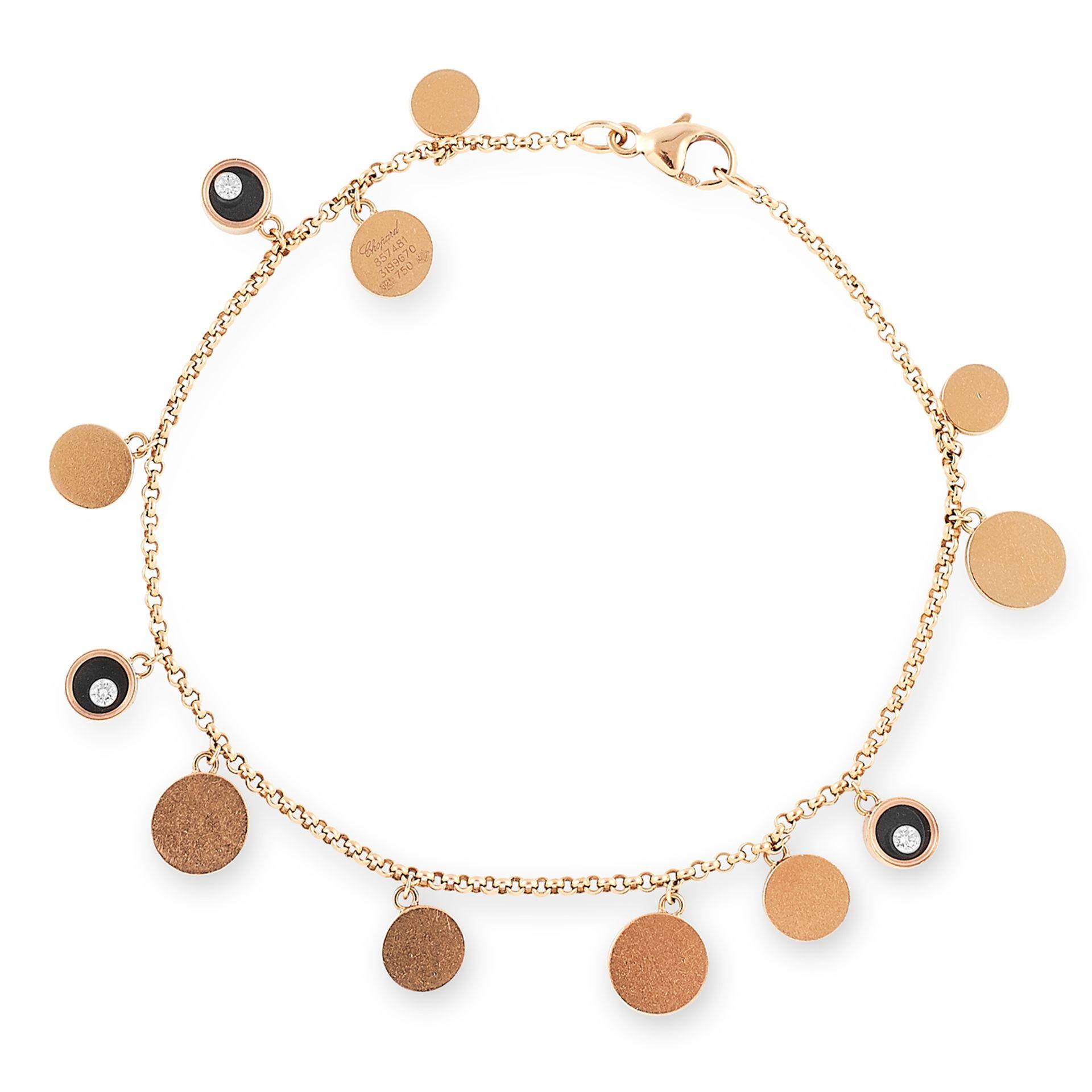 HAPPY DIAMONDS BRACELET, CHOPARD set with onyx and round diamond charms, 18cm, 7g.
