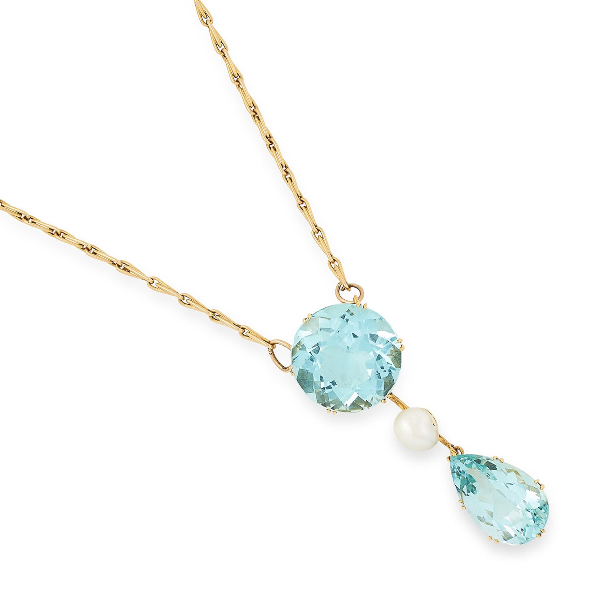 VINTAGE AQUAMARINE AND PEARL PENDANT comprising of a round cut aquamarine suspending a pearl and