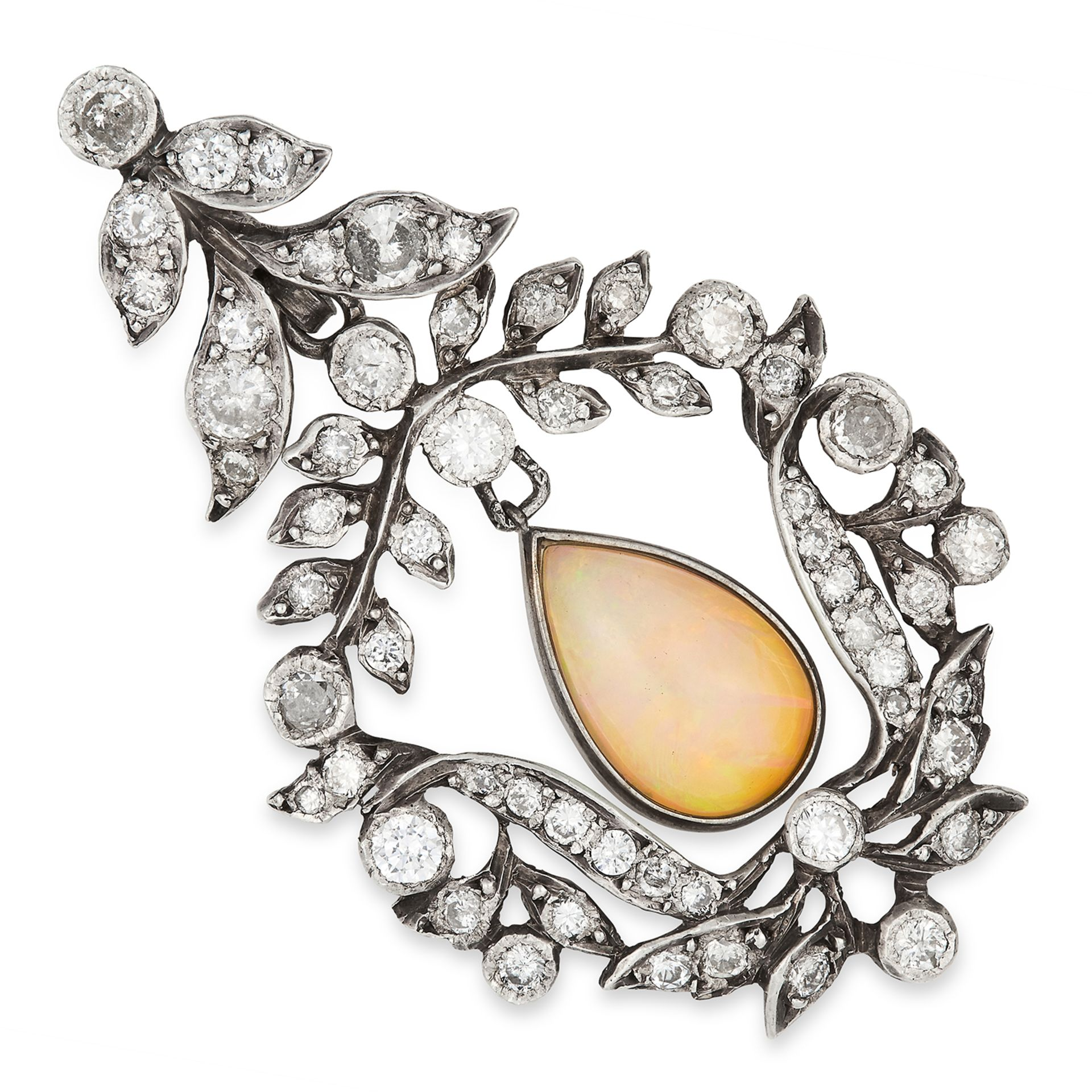ANTIQUE OPAL AND DIAMOND PENDANT set with a pear cut opal in a foliate border set with round cut