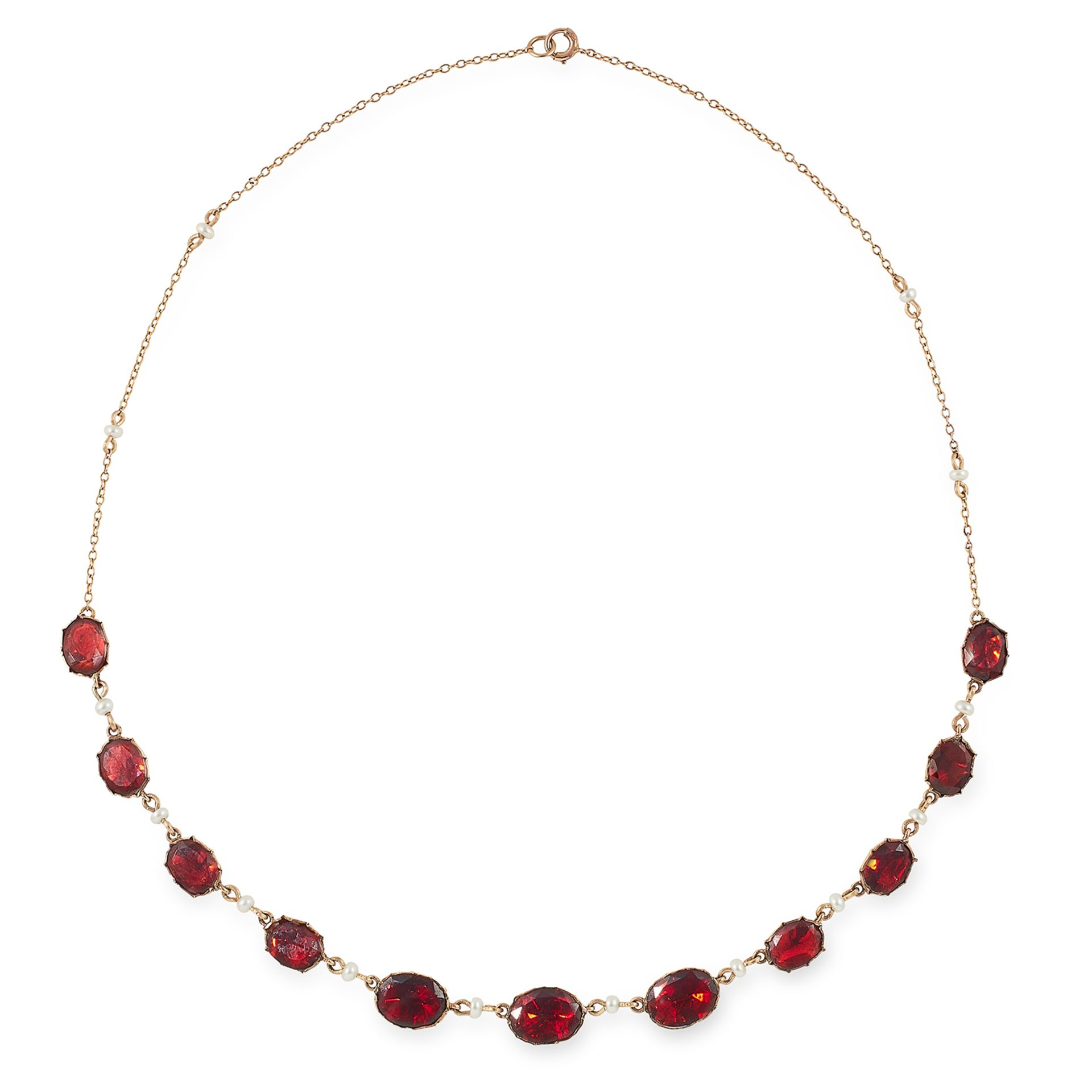 ANTIQUE GARNET AND SEED PEARL NECKLACE set with oval cut garnets and seed pearls, 43cm, 7g.