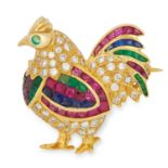 GEMSET COCKERAL BROOCH set with step cut rubies, sapphires and emeralds and round cut diamonds and
