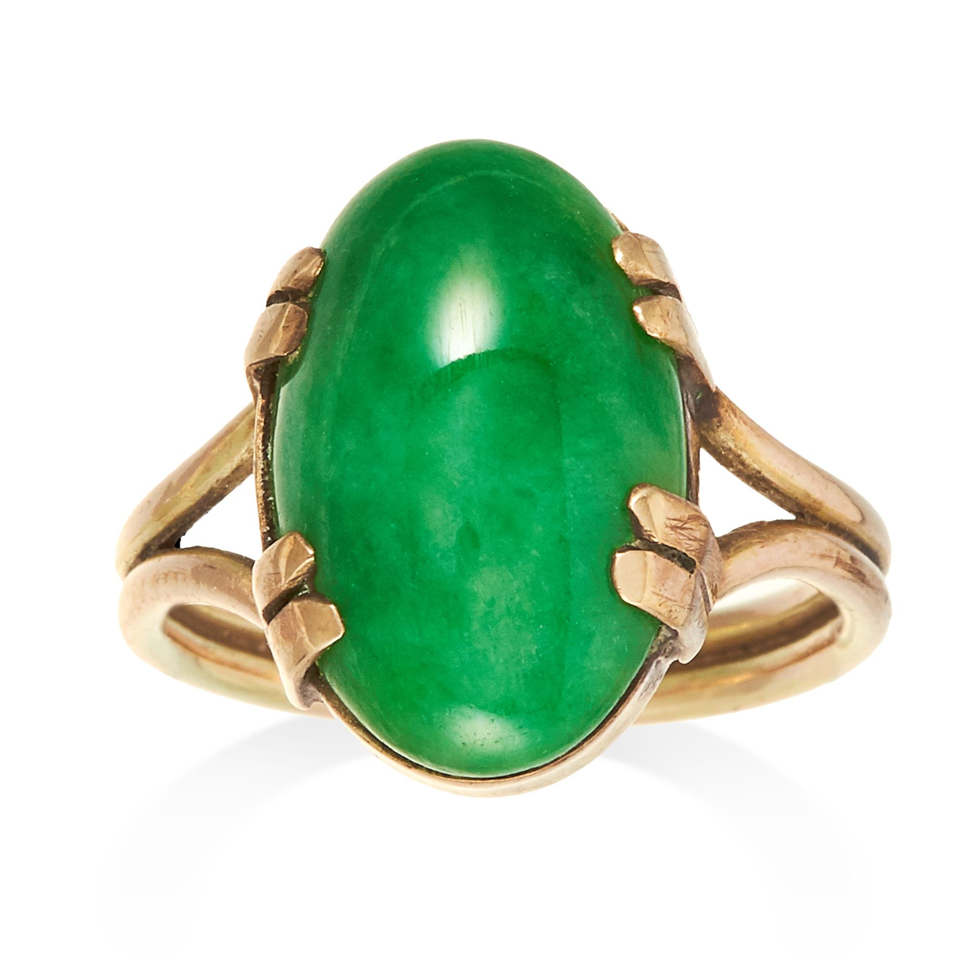 JADEITE JADE DRESS RING set with an oval jade cabochon, size Q / 8, 5.49g. Gemmological report: