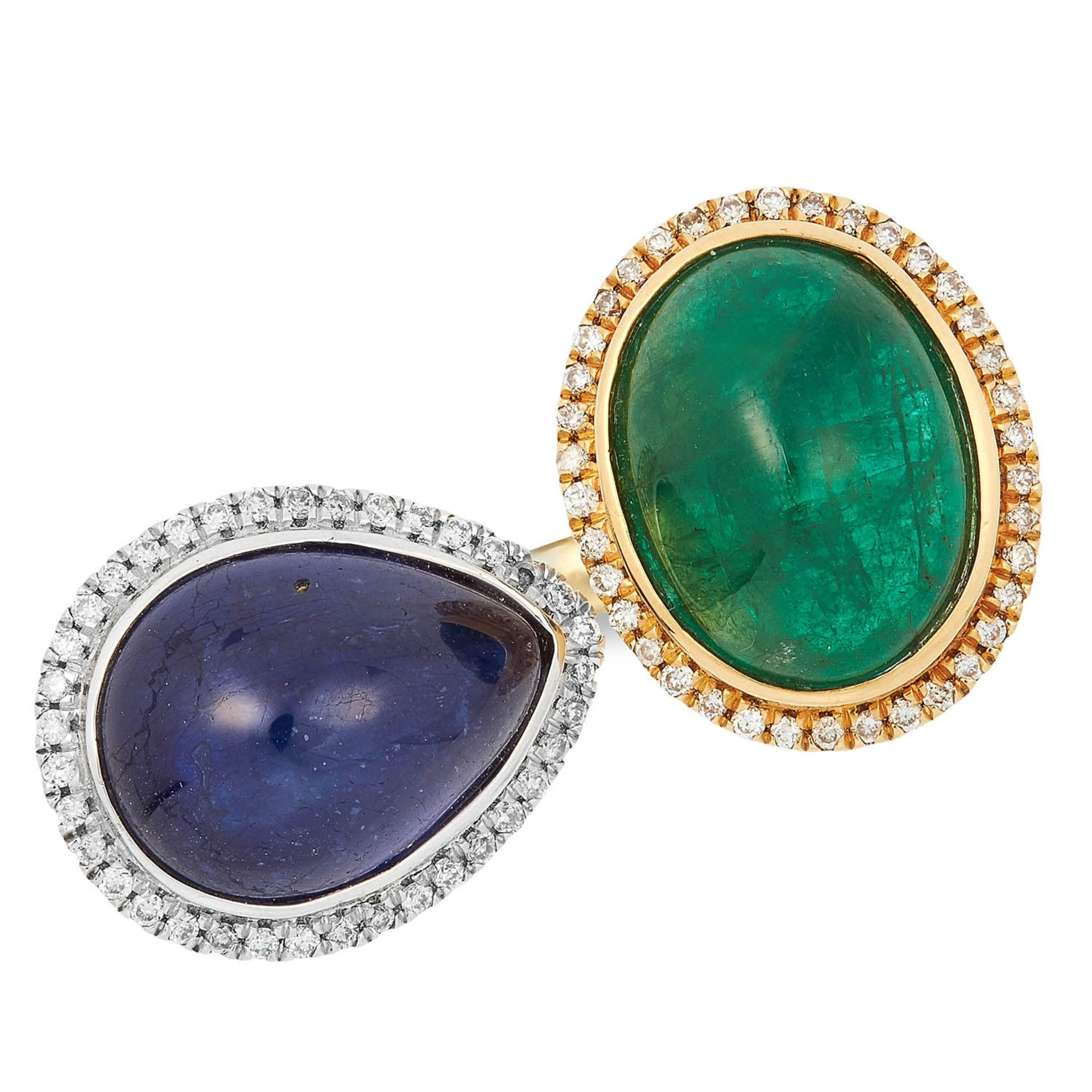 SAPPHIRE, EMERALD AND DIAMOND RING set with a cabochon sapphire and emerald in a border of round cut