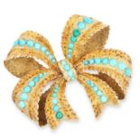 ANTIQUE TURQUOISE BOW BROOCH, 19TH CENTURY set with turquoise cabochons, 3.7cm, 8.1g.