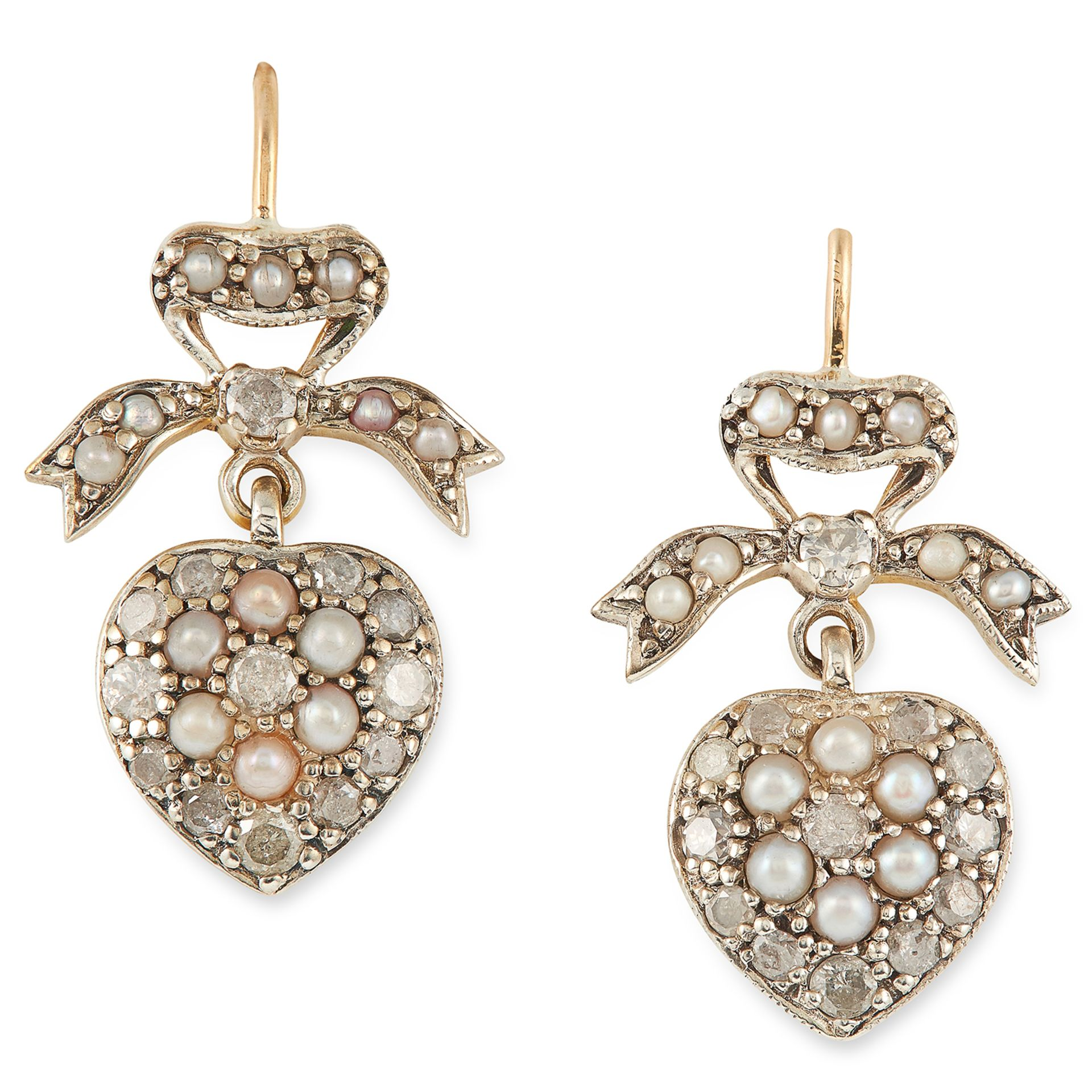 DIAMOND AND PEARL SWEETHEART EARRINGS in ribbon and heart motif set with round cut diamonds and