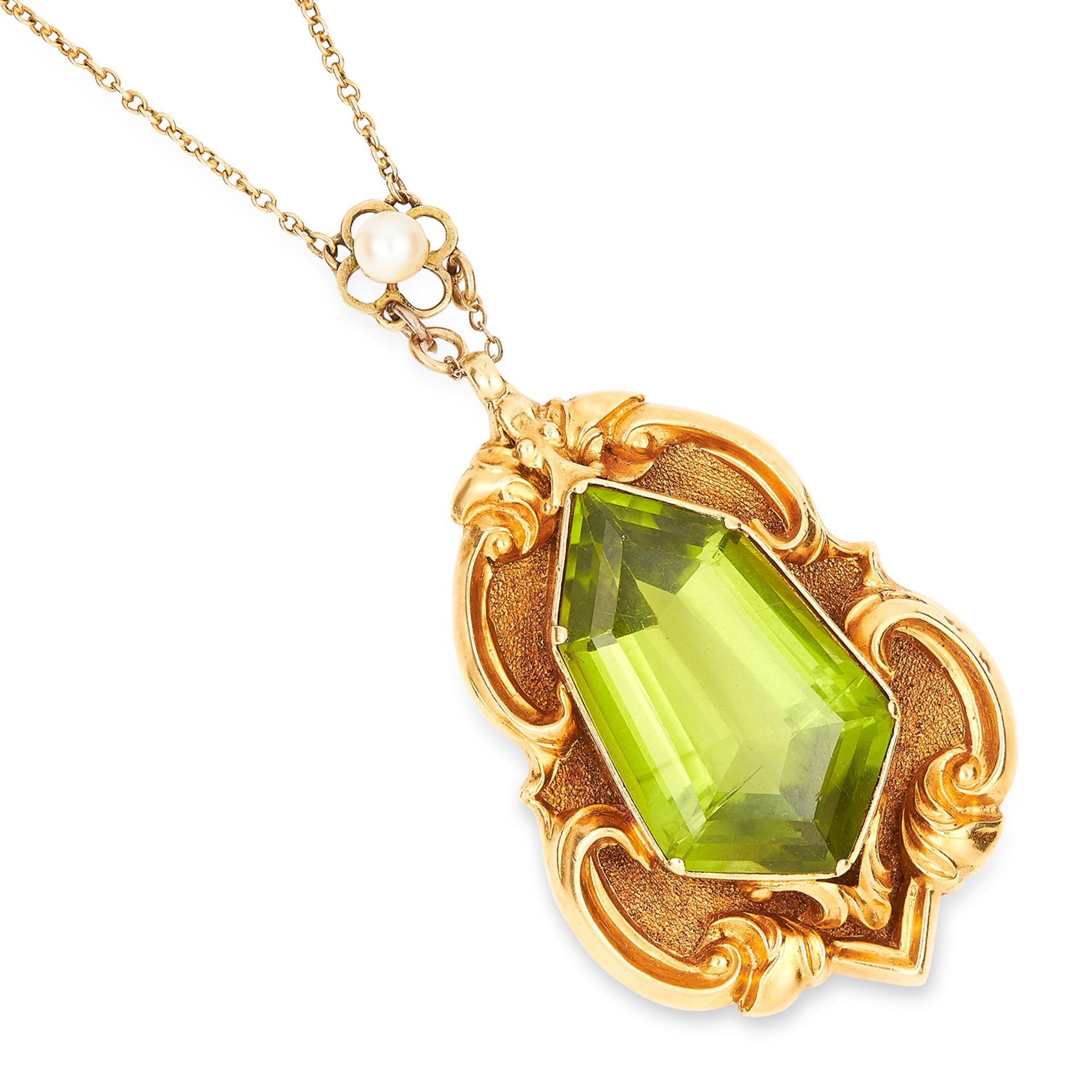 ANTIQUE PERIDOT AND PEARL PENDANT AND CHAIN set with a fancy, hexagonal step cut peridot on a