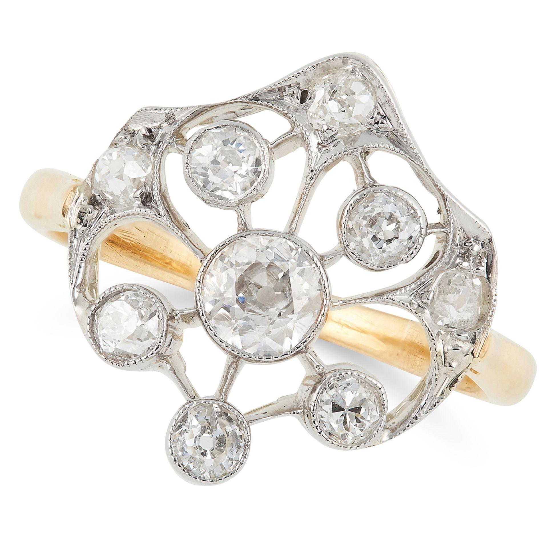 DIAMOND DRESS RING set with round cut diamonds, size K / 5, 3.1g.