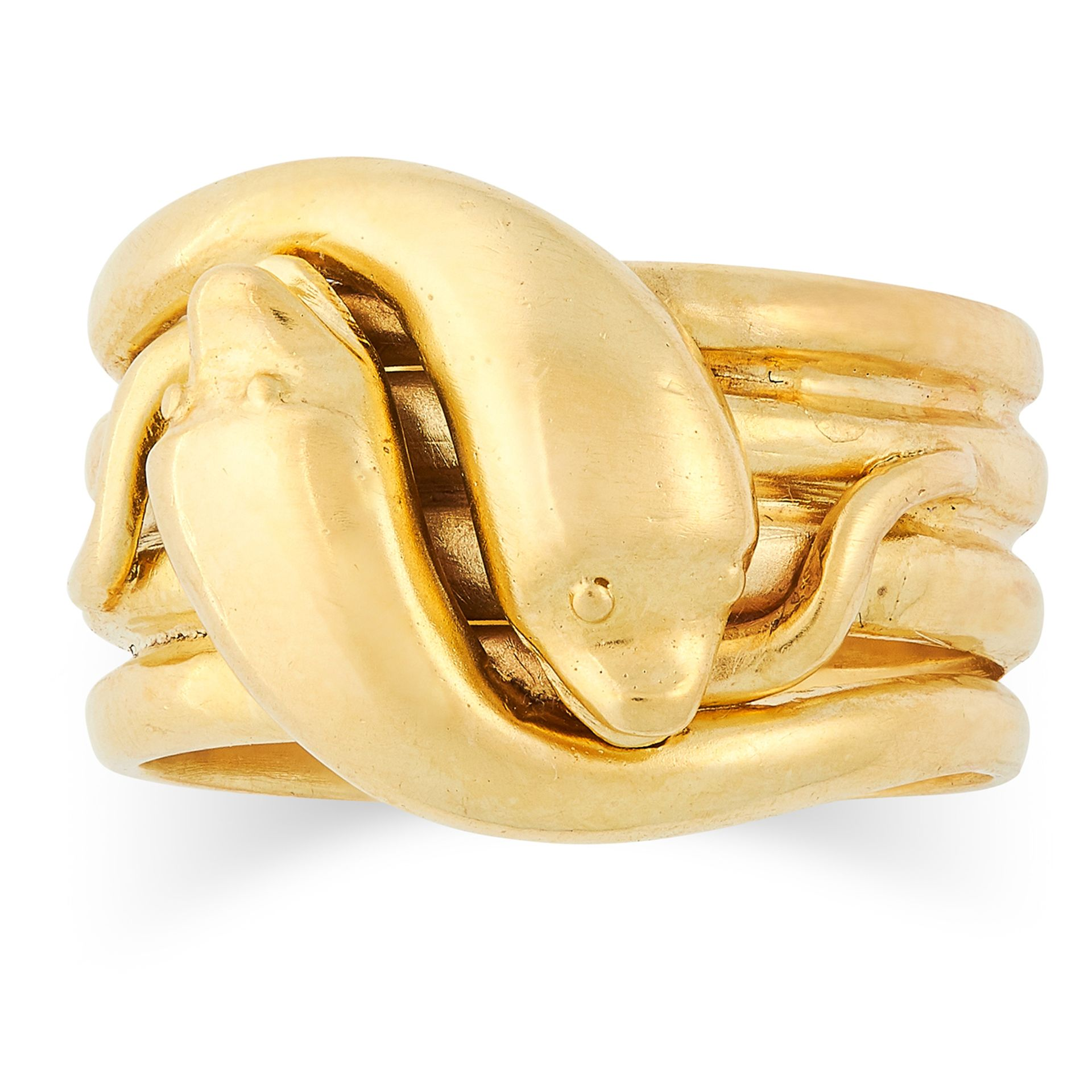ANTIQUE SNAKE RING comprising of two intertwined snakes, size R / 8.5, 16.6g.