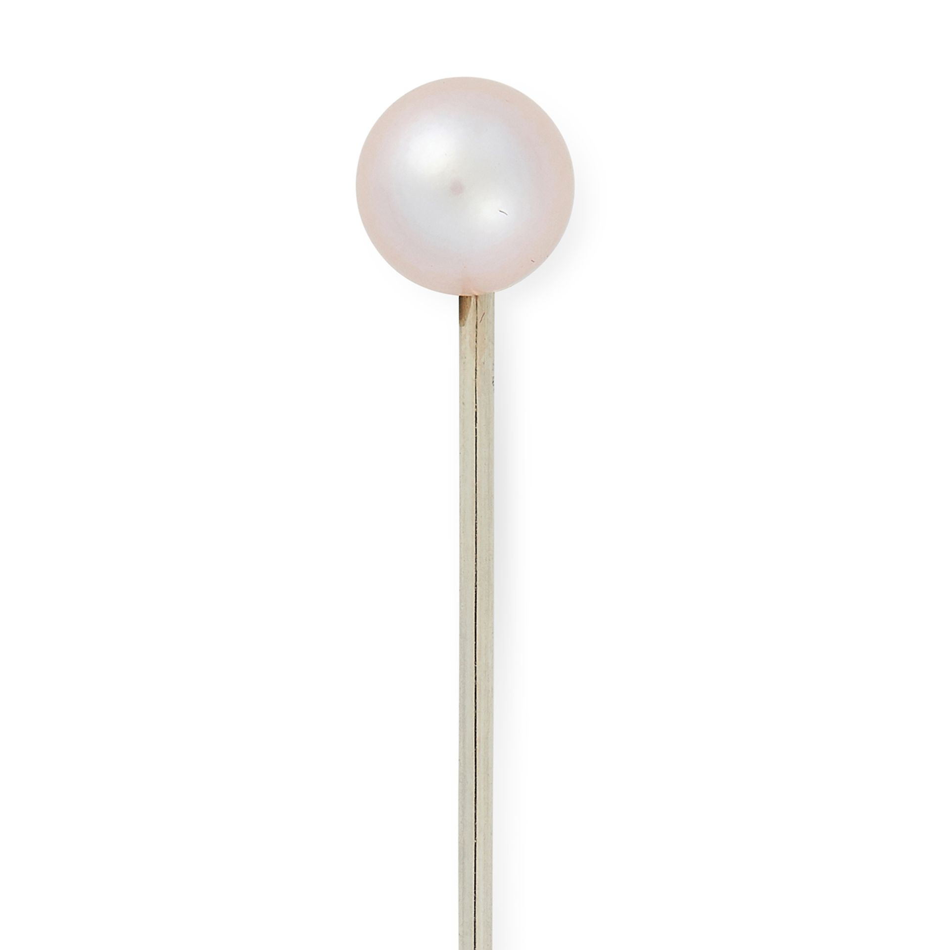 NATURAL SALTWATER PEARL TIE PIN set with a natural saltwater pearl, 6.3cm, 2.2g. - Bild 2 aus 2