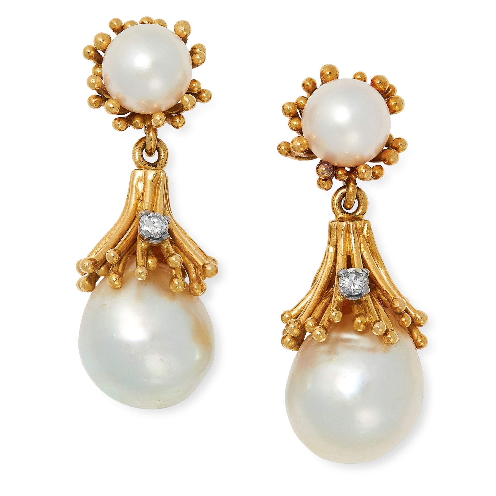 VINTAGE PEARL AND DIAMOND DROP EARRINGS, CIRCA 1970 each set with two pearls and a round cut