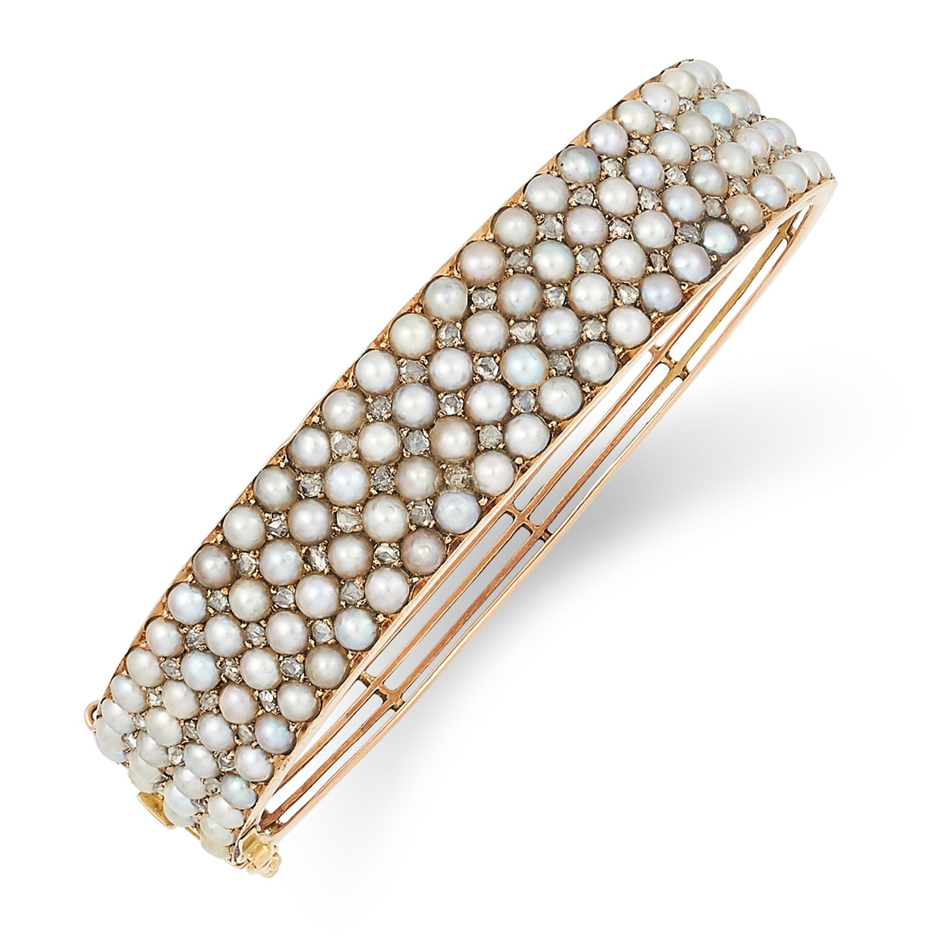 ANTIQUE PEARL AND DIAMOND BANGLE set with seed pearls and rose cut diamonds, 6cm inner diameter,