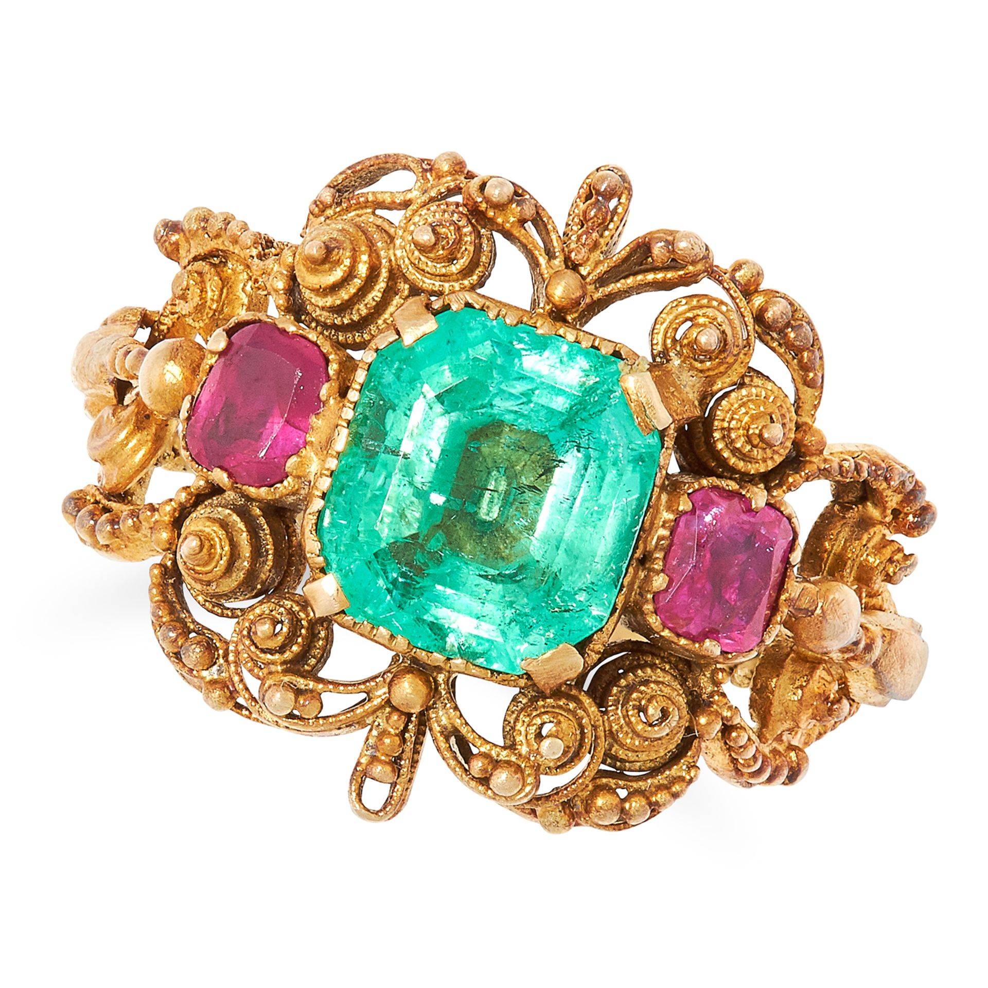 ANTIQUE GEORGIAN EMERALD AND RUBY RING set with an emerald cut emerald of 1.74 carats and two