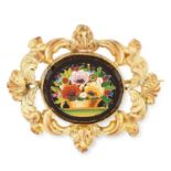 ANTIQUE MICRO MOSAIC BROOCH depicting a floral scene, 4.5cm, 7g.