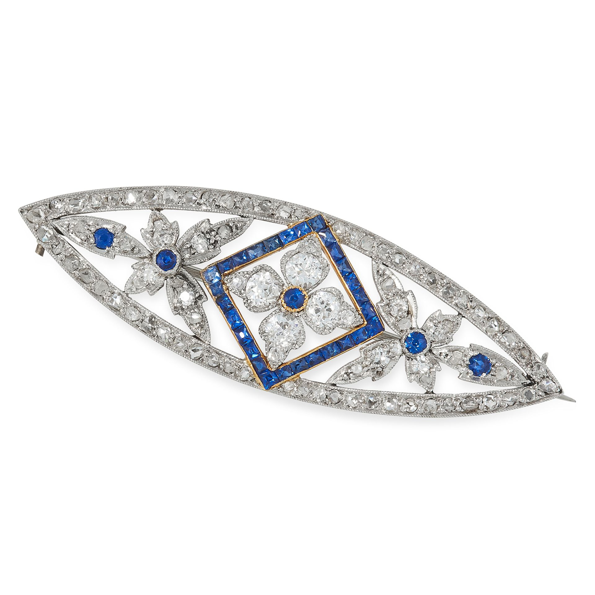 SAPPHIRE AND DIAMOND BROOCH in foliate design set with step and round cut sapphires and round and