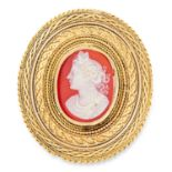 ANTIQUE CARVED CAMEO, GAUNT comprising of a carved cameo in gold border, 4cm, 13.4g.