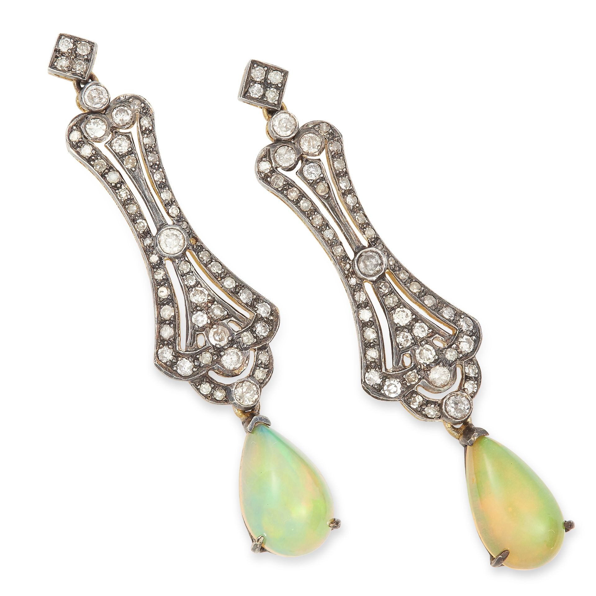 OPAL AND DIAMOND DROP EARRINGS each set with round cut diamonds suspending a cabochon opal drop, 4.