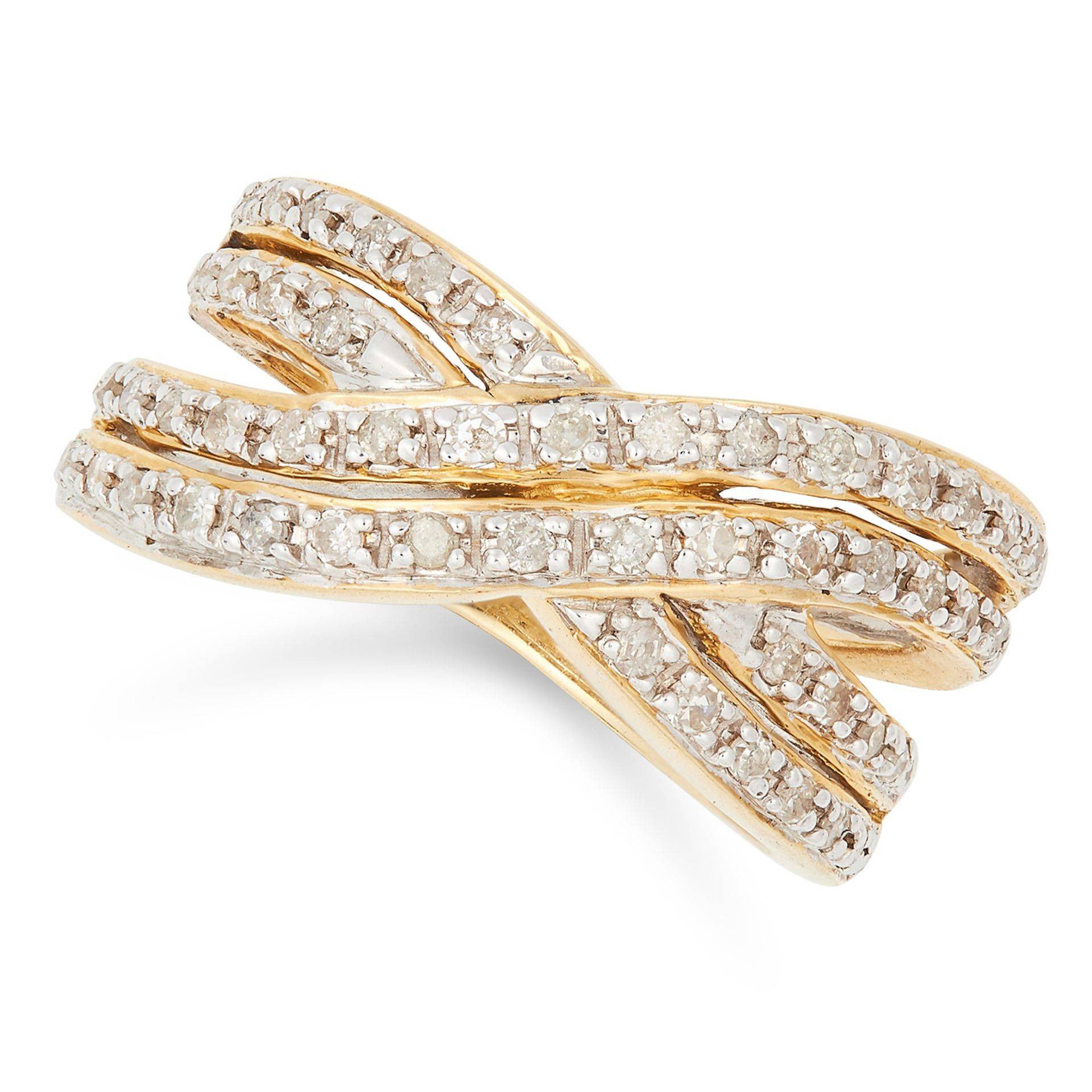 DIAMOND CROSS OVER RING, set with round cut diamonds, size L / 5.5, 6.7g.