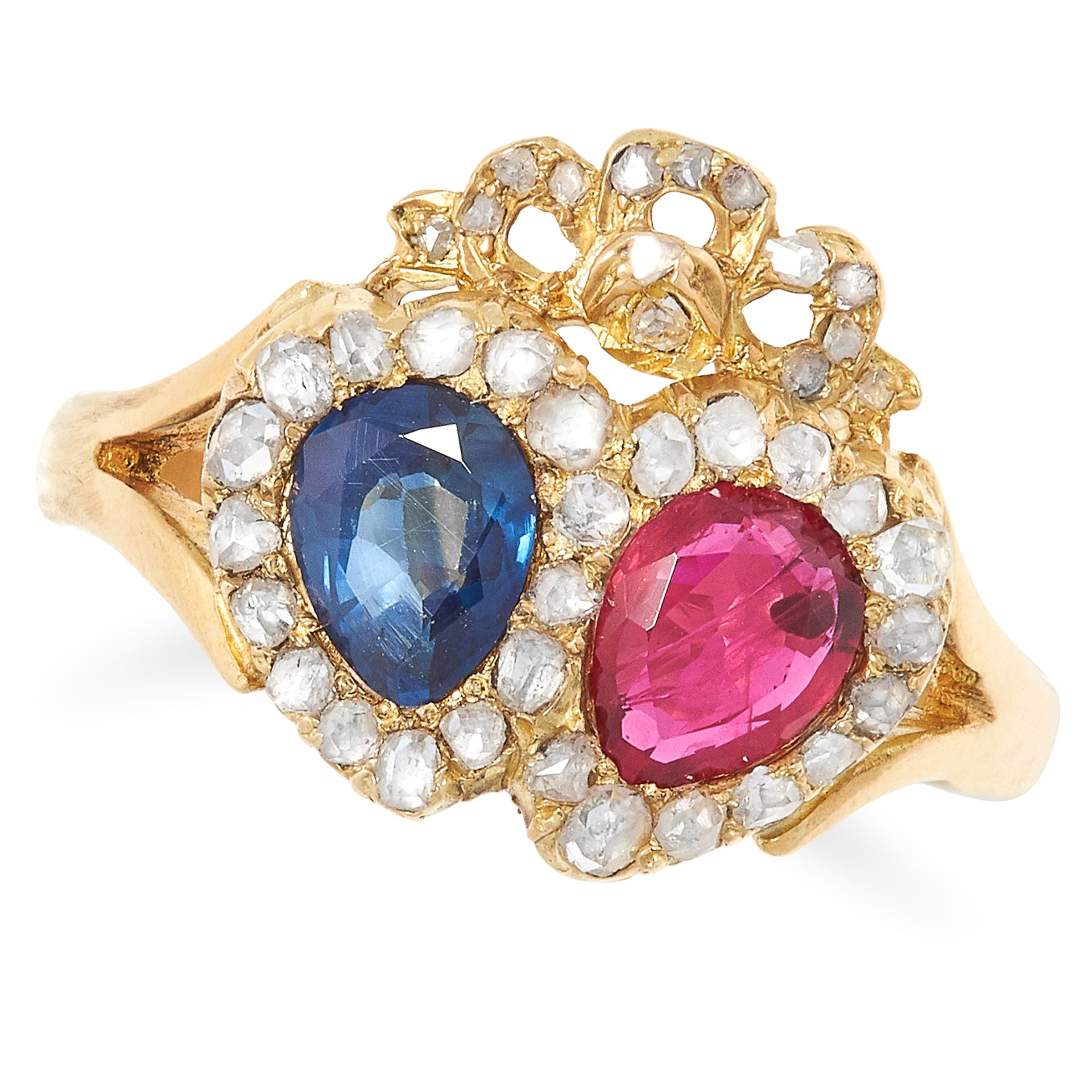 SAPPHIRE, RUBY AND DIAMOND SWEETHEART RING set with a cushion cut sapphire and ruby in a border of