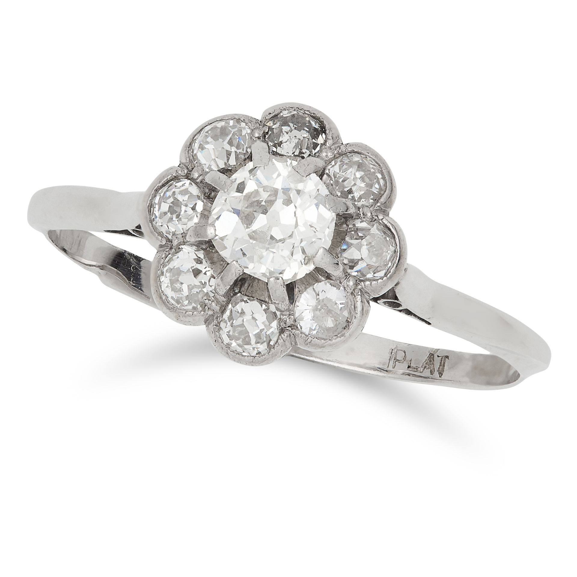 DIAMOND CLUSTER RING set with round and old cut diamonds, size V / 10.5, 2.9g.