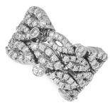 A DIAMOND RING comprising of an articulated body set with round cut diamonds, size K / 5, 12g.