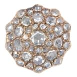 ANTIQUE GEORGIAN DIAMOND CLUSTER RING set with rose cut diamonds totalling approximately 3.70
