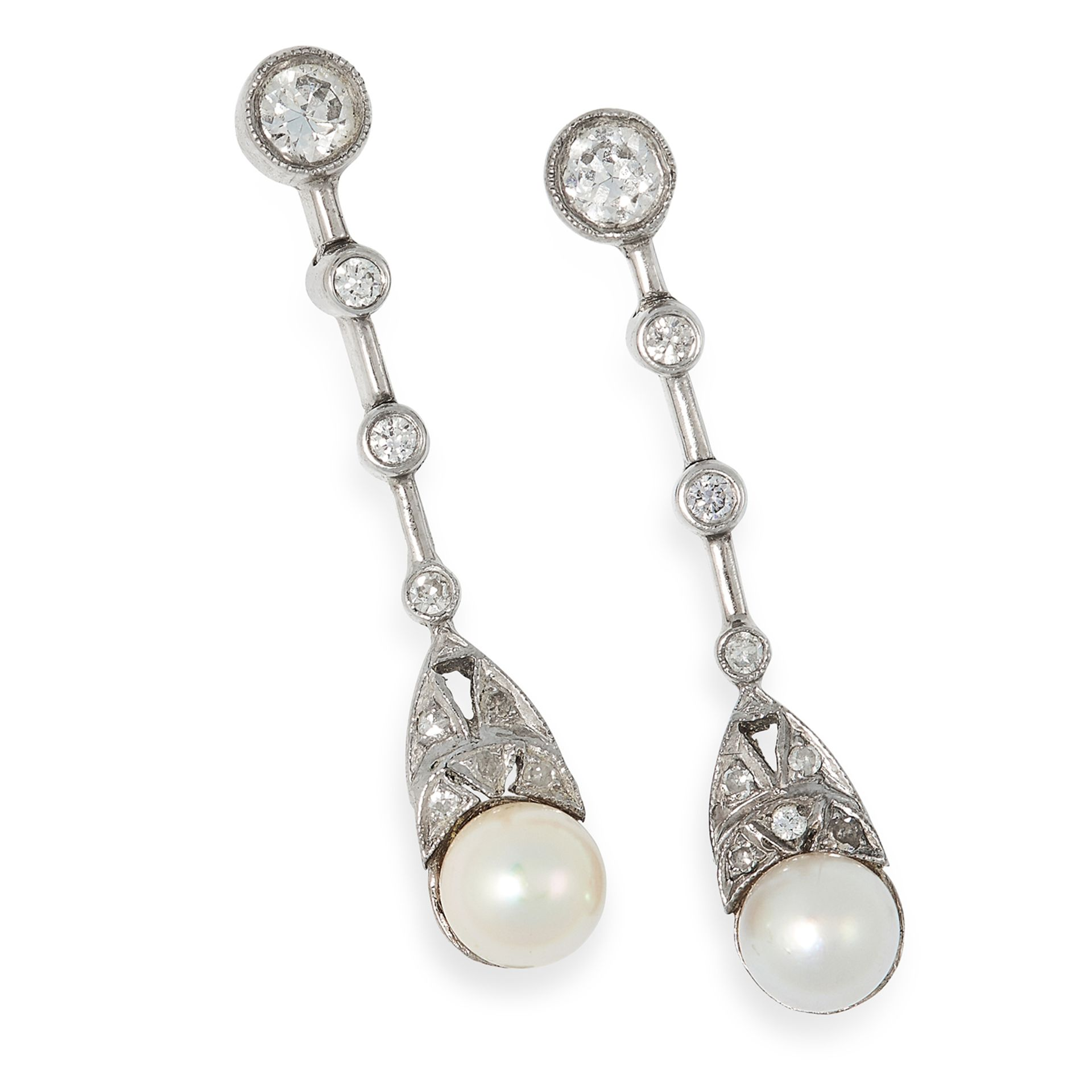 PEARL AND DIAMOND EARRINGS in Art Deco design set with round cut diamonds and pearls, 2.9cm, 4g.