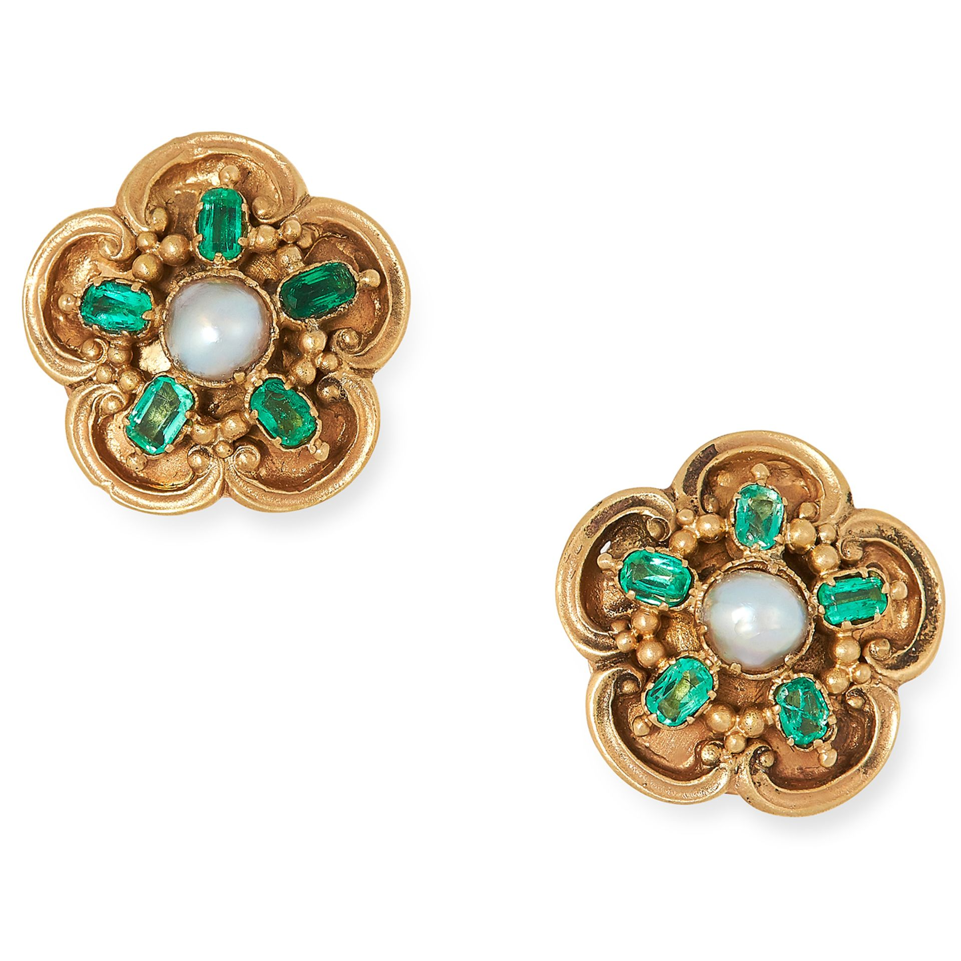 ANTIQUE EMERALD AND PEARL EARRINGS each set with a seed pearl and a oval cut emerald, 1.1cm, 4.1g.