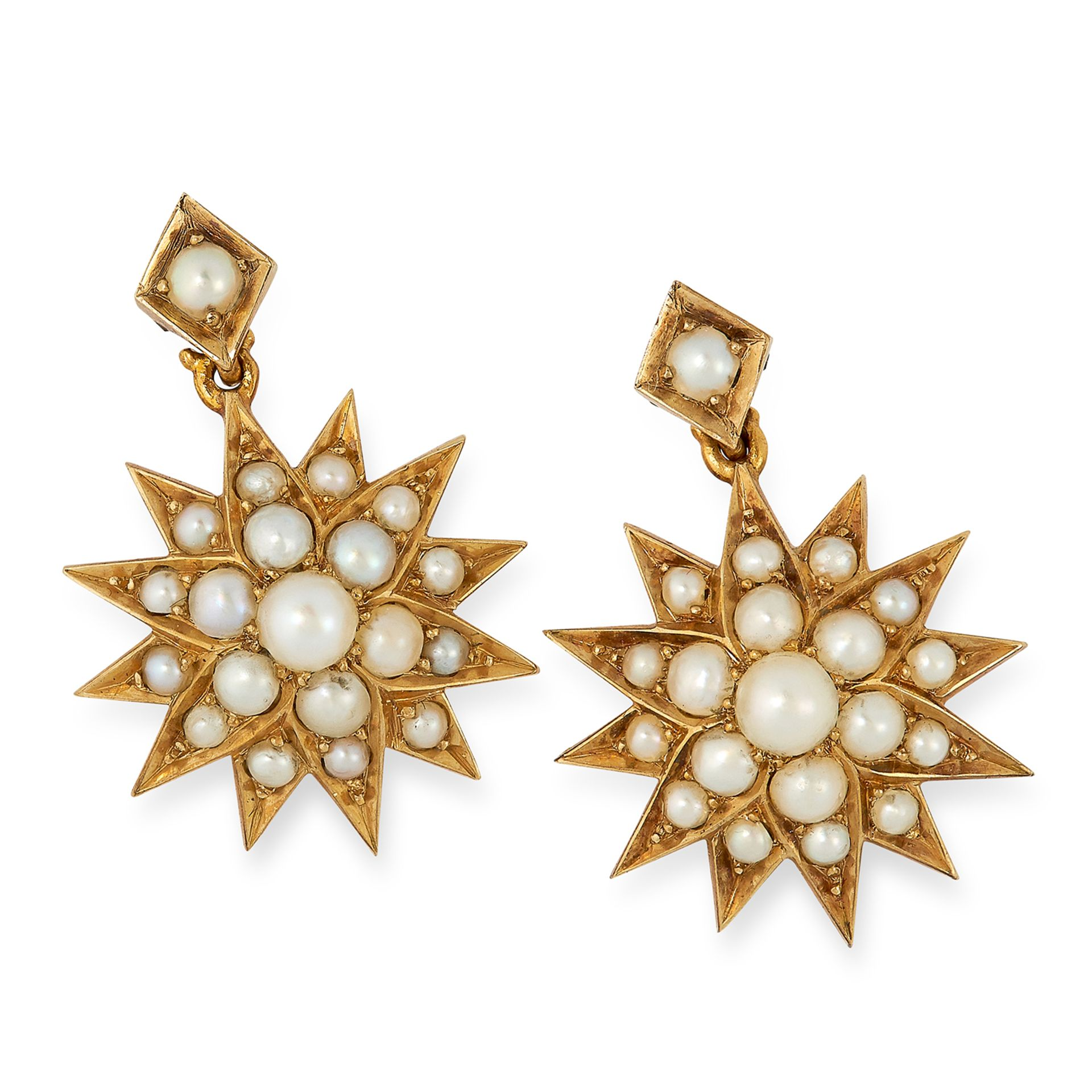 ANTIQUE PEARL EARRINGS designed as a star set with seed pearls, 2.3cm, 4.7g.