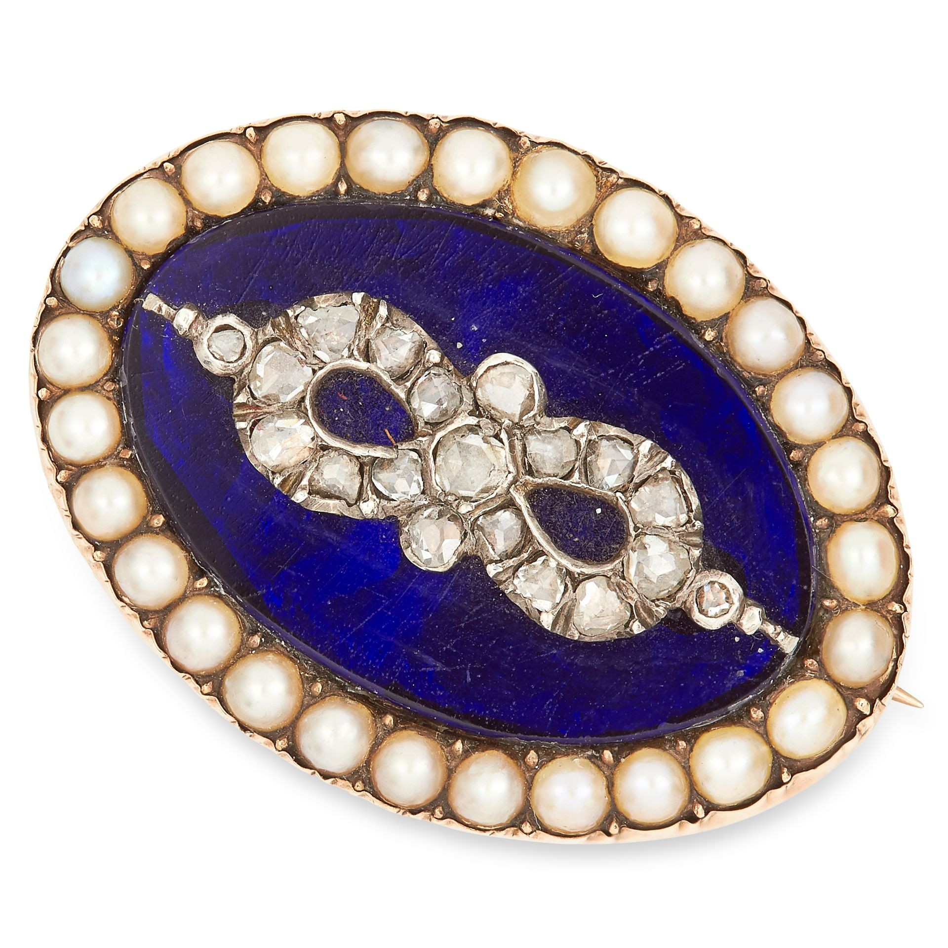 ANTIQUE PEARL, DIAMOND AND ENAMEL BROOCH set with blue enamel, seed pearls and rose cut diamonds,