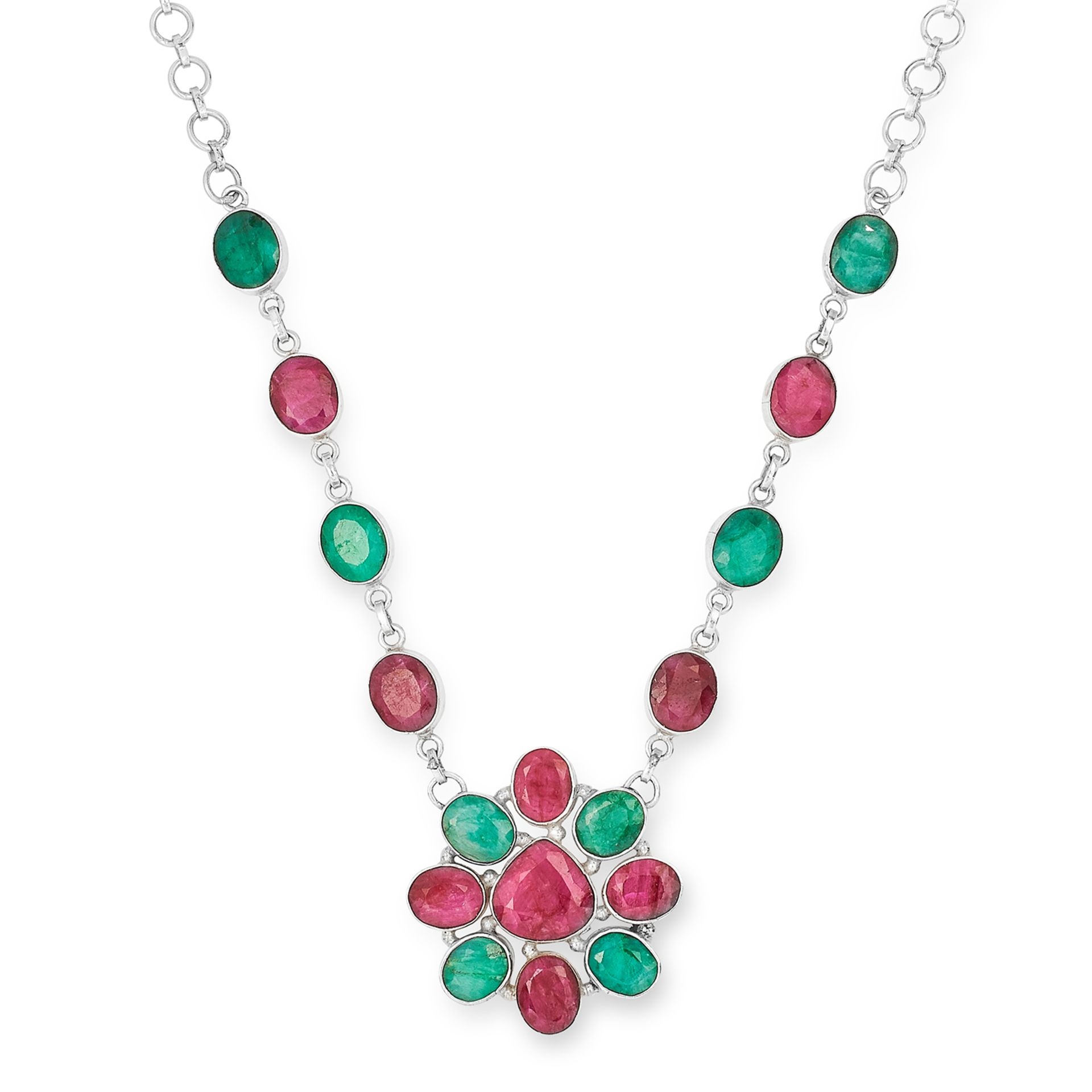 RUBY AND EMERALD NECKLACE, designed as a flower, 46.5cm, 46.7g.