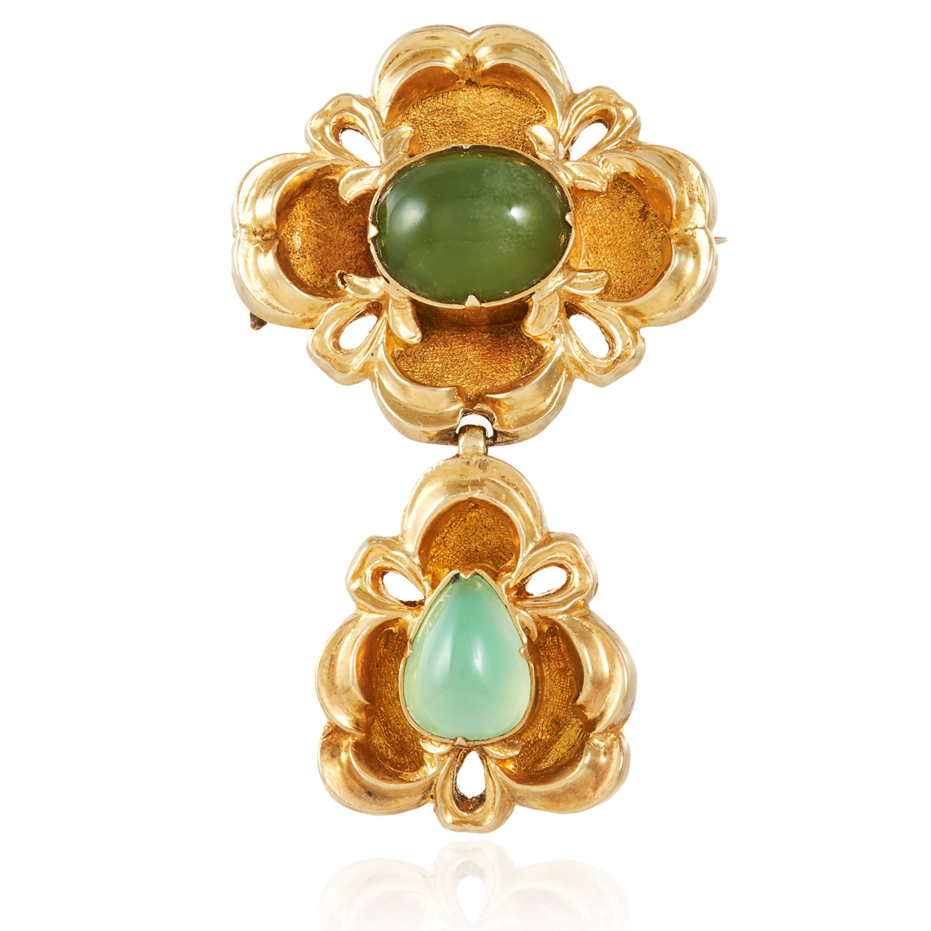 ANTIQUE CHRYSOPRASE MOURNING BROOCH, 19TH CENTURY set with two cabochon chrysoprase in scrolling