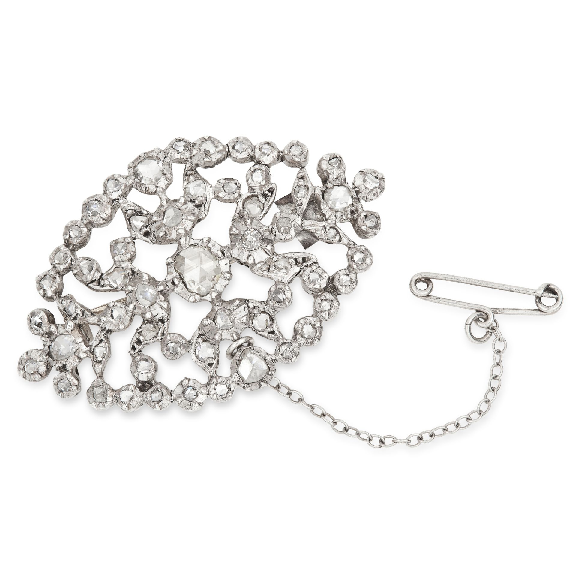 ANTIQUE DIAMOND BROOCH the open framework is set with rose cut diamonds, 4.3cm, 9.4g.