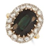 TOURMALINE AND DIAMOND CLUSTER RING set with an oval cut green tourmaline in a cluster of round