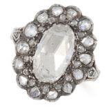 ANTIQUE GEORGIAN 2.40 CARAT DIAMOND CLUSTER RING set with rose cut diamonds totalling