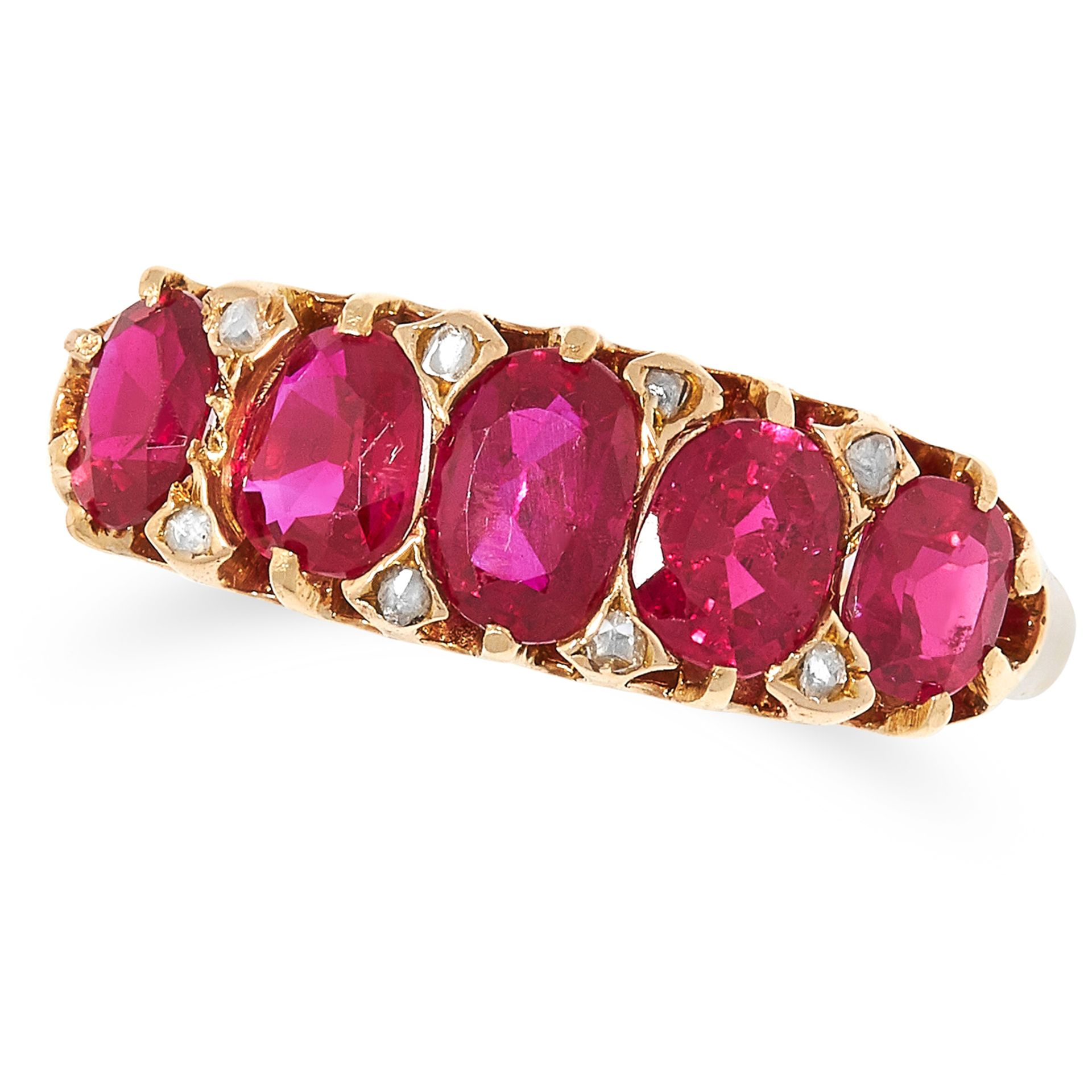 1.59 CARAT BURMA NO HEAT RUBY AND DIAMOND RING set with five oval cut rubies totalling 1.59 carats