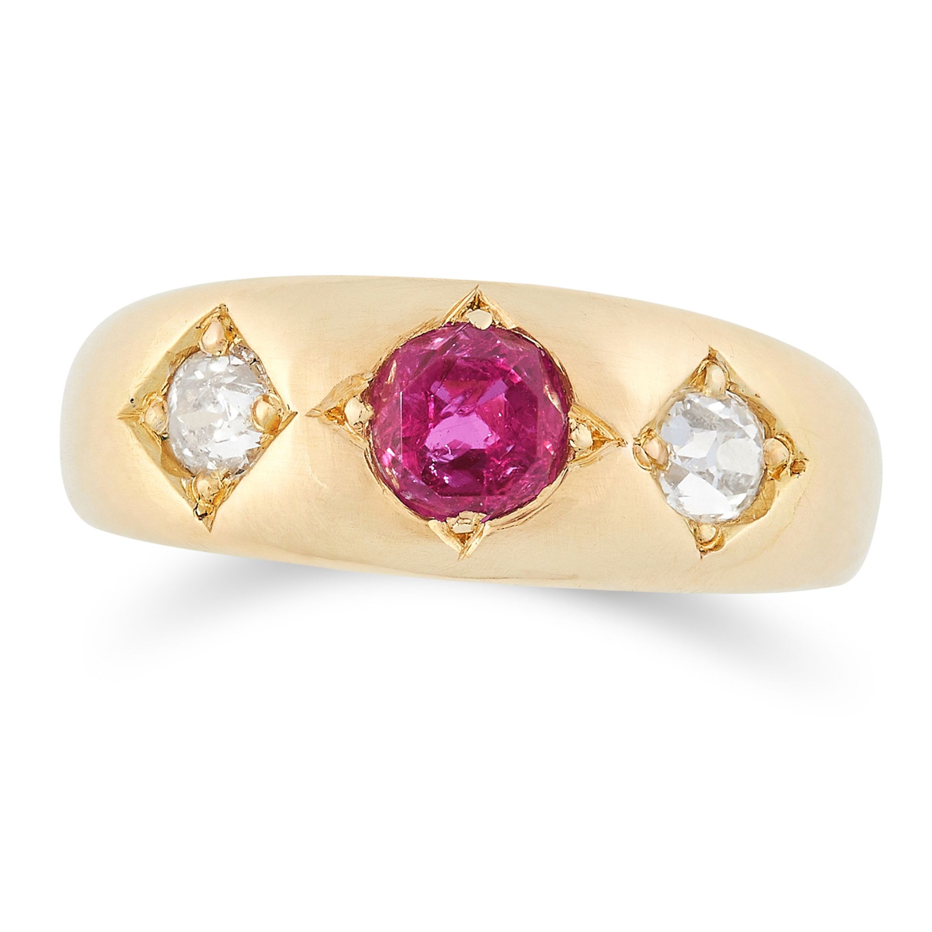 ANTIQUE RUBY AND DIAMOND THREE STONE RING set with a round cut ruby of approximately 0.68 carats