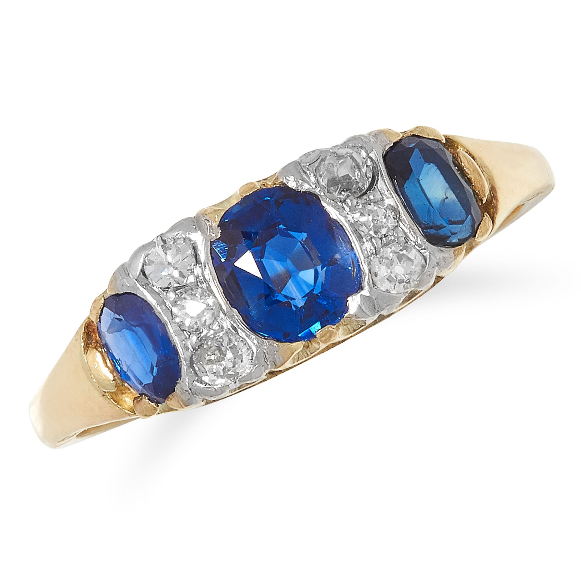 SAPPHIRE AND DIAMOND RING set with alternating oval cut sapphires and round cut diamonds, size M /