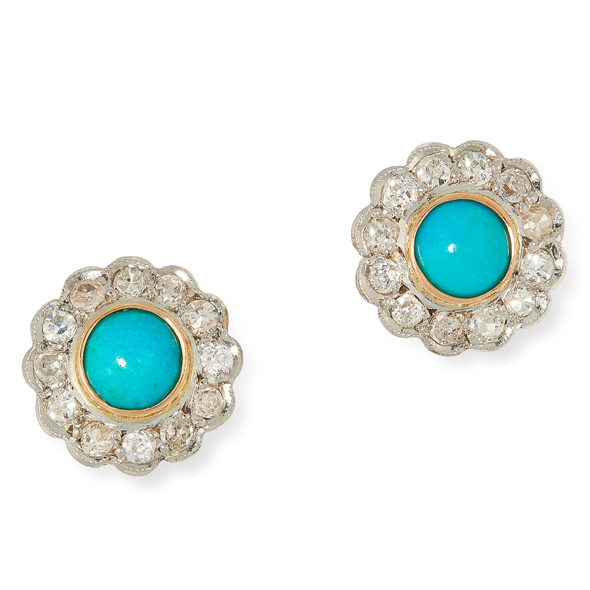 TURQUOISE AND DIAMOND CLUSTER EARRINGS each set with a cabochon turquoise in a border of old cut