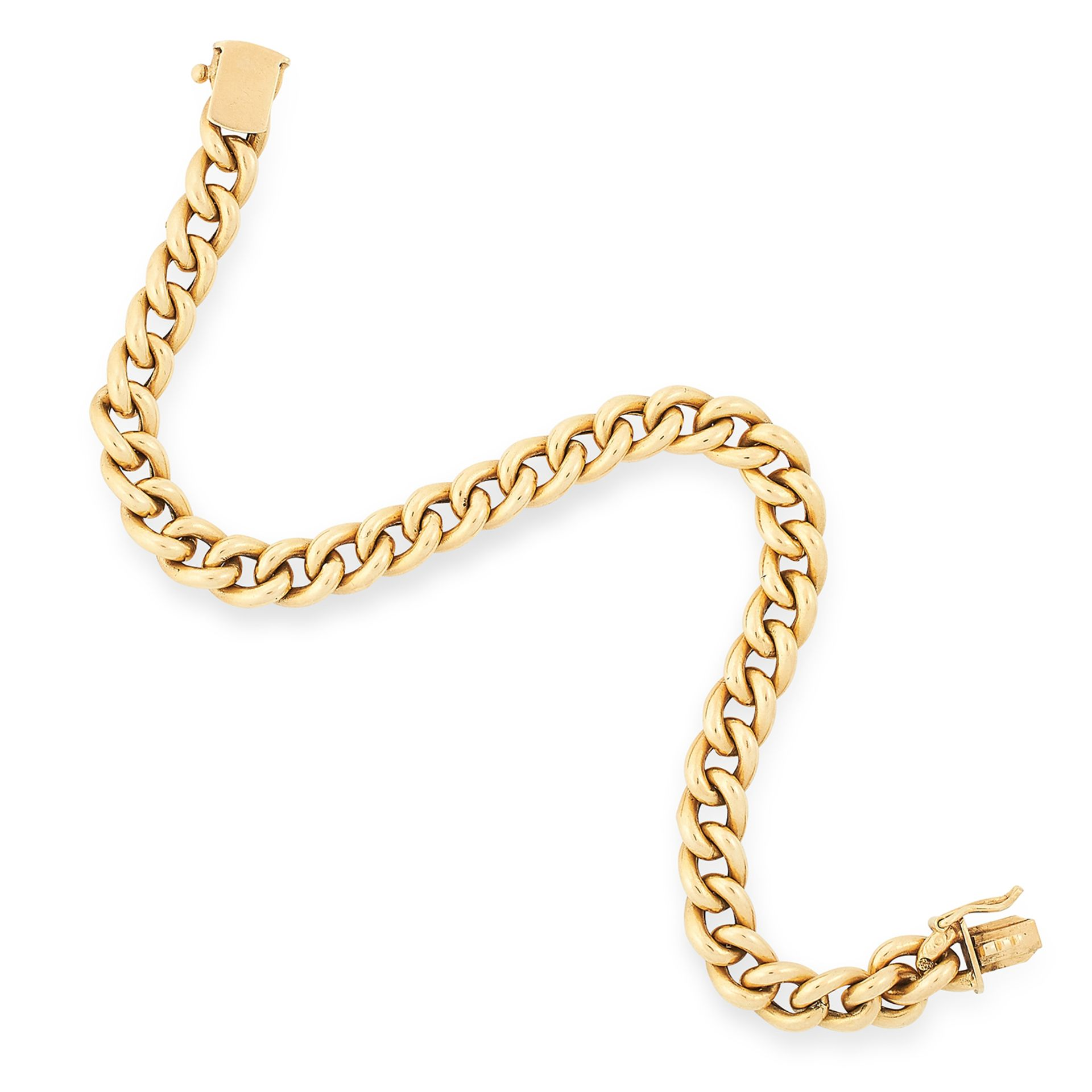 FANCY LINK BRACELET comprising of a row of textured curb links, 20cm, 16.8g.