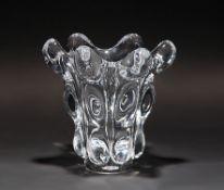 VaseFrankreich, Glasmanufaktur Cristalleries de Vannes-le-Châtel et Vierzon, am Boden Ätzmarke.