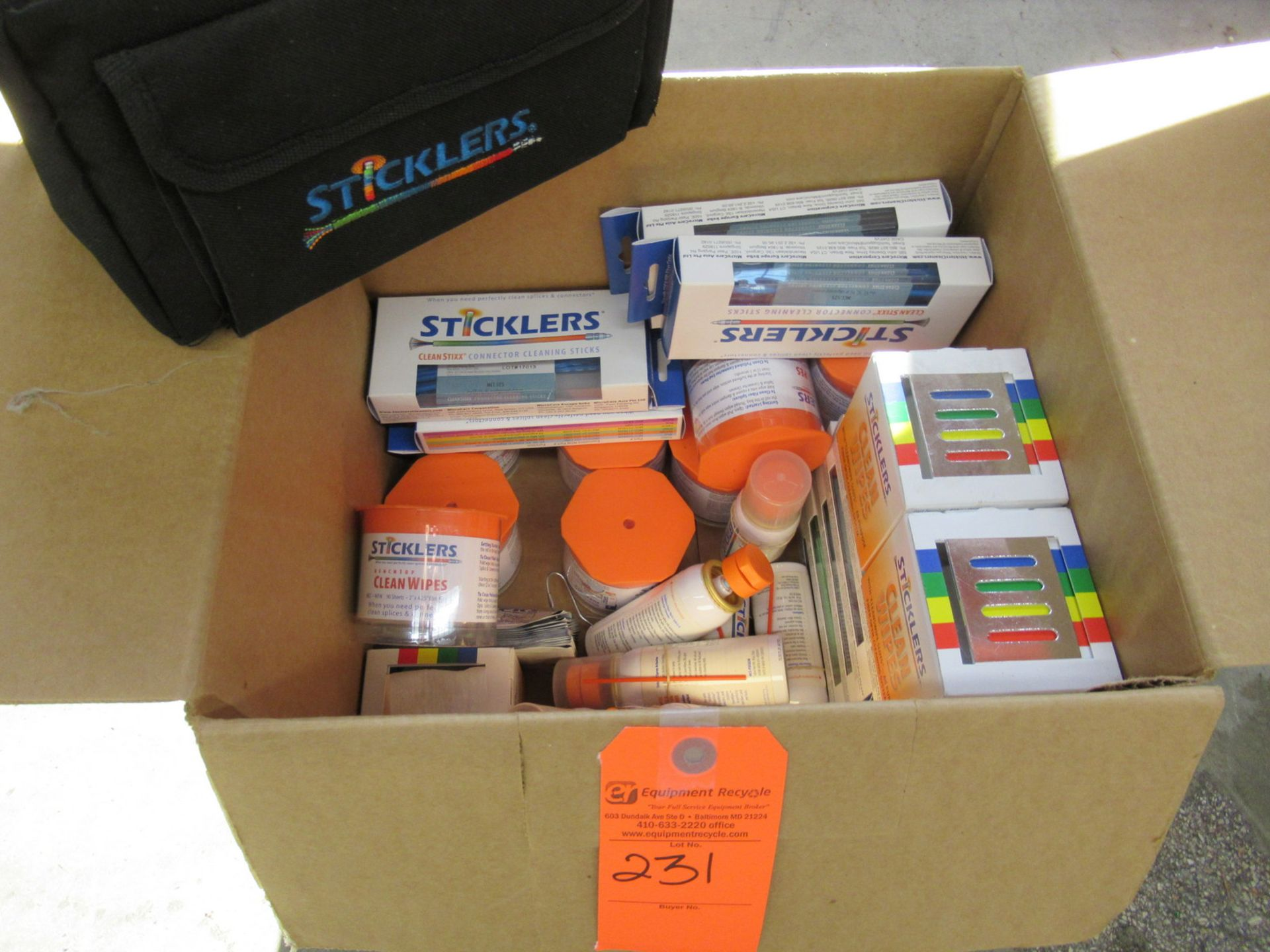 Lot 231 - Sticklers Cleaning Sticks, Wipes, Cleaner, and more with a Travel Bag