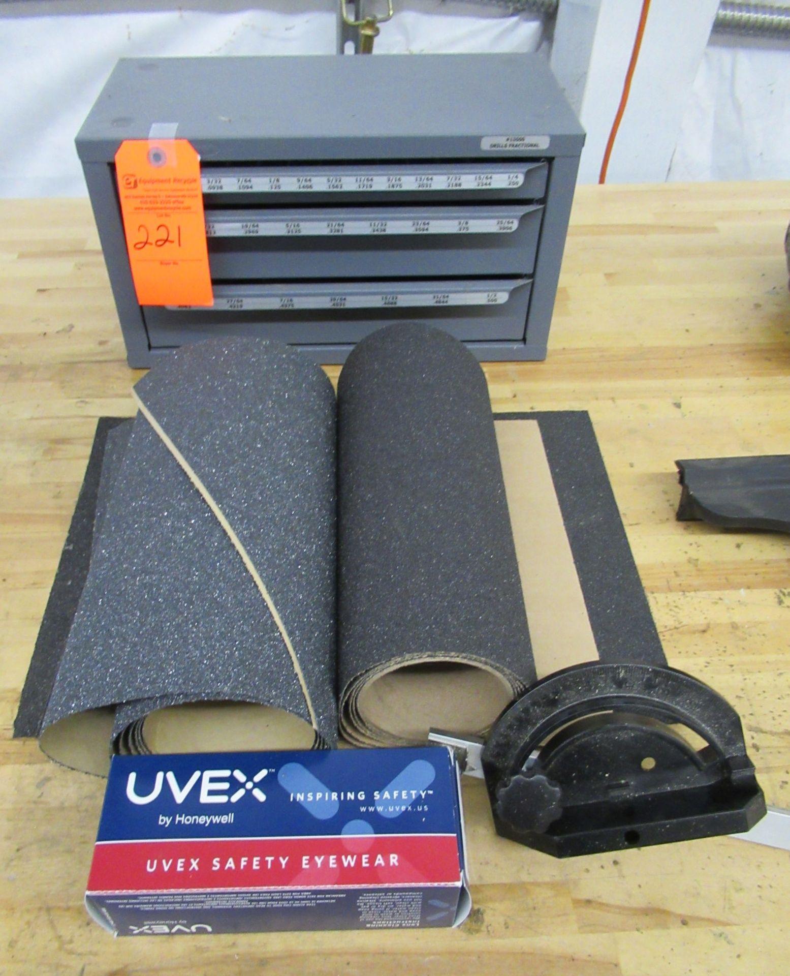 Lot 221 - Drill Bit Tool Box, Sand Paper, Glasses