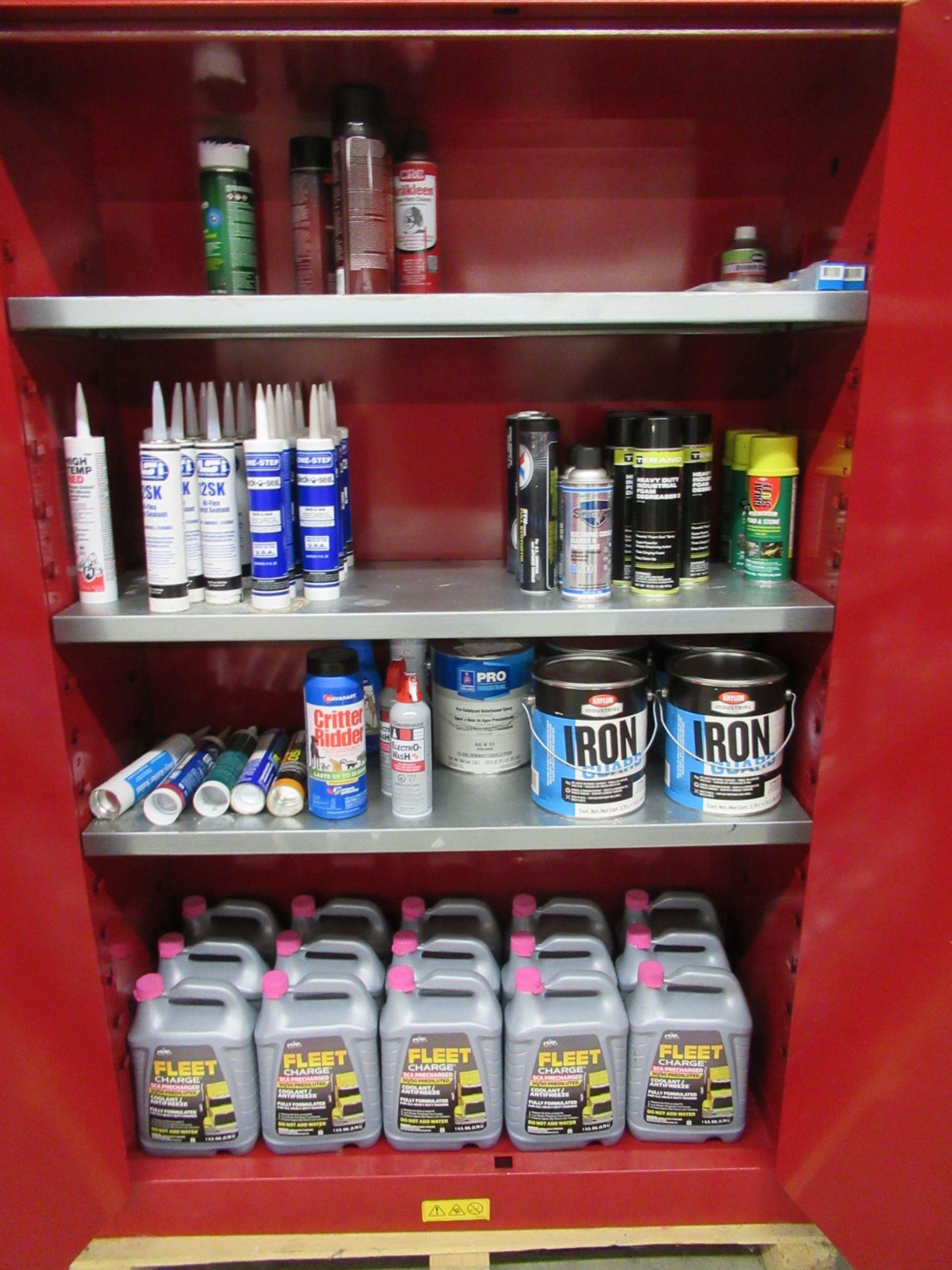 Lot 217 - Uline H-1564M-R 45 Gallon Flammable Liquid Storage Cabinet & Contents