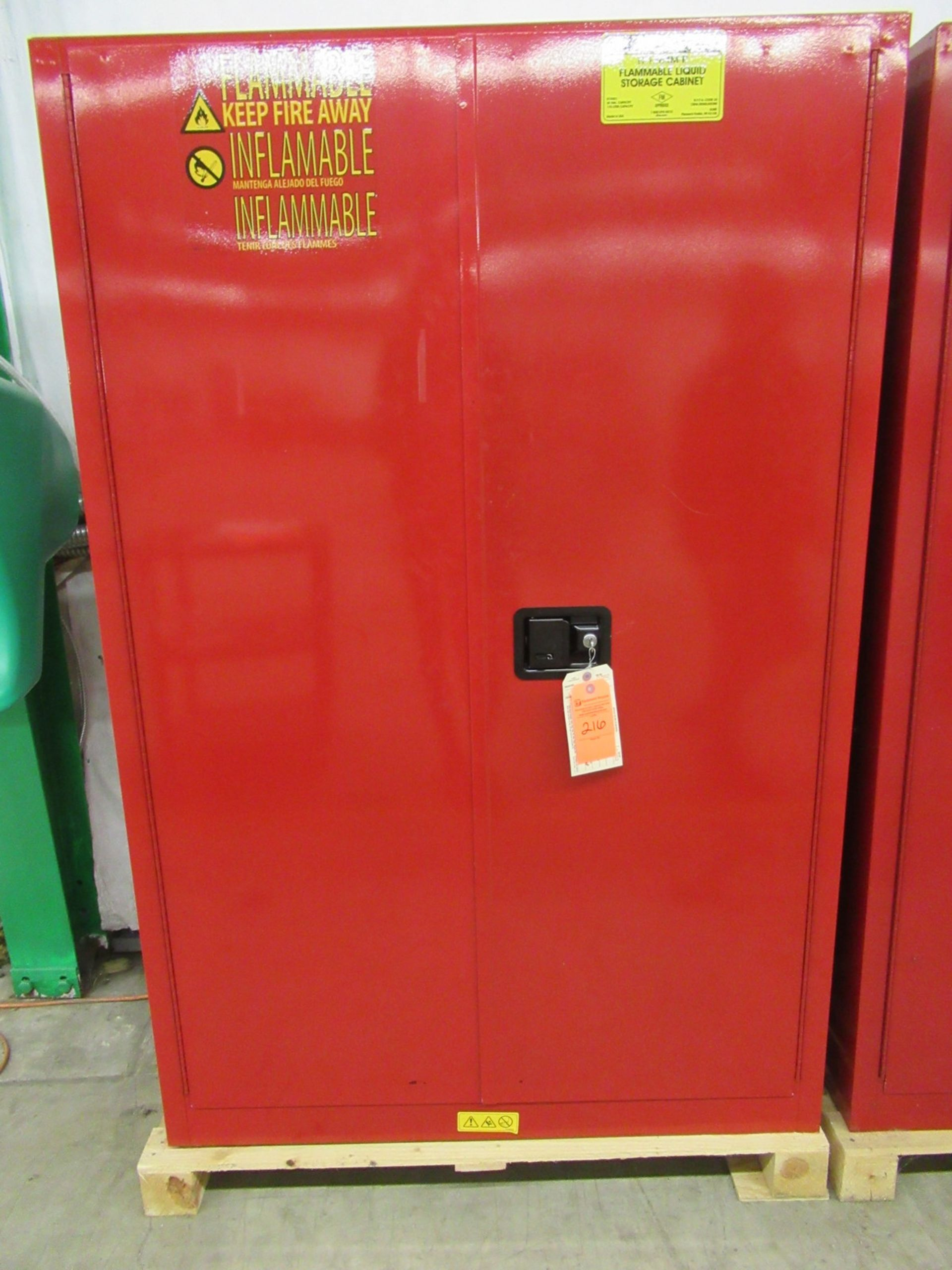Lot 216 - Uline H-1564M-R 45 Gallon Flammable Liquid Storage Cabinet & Contents