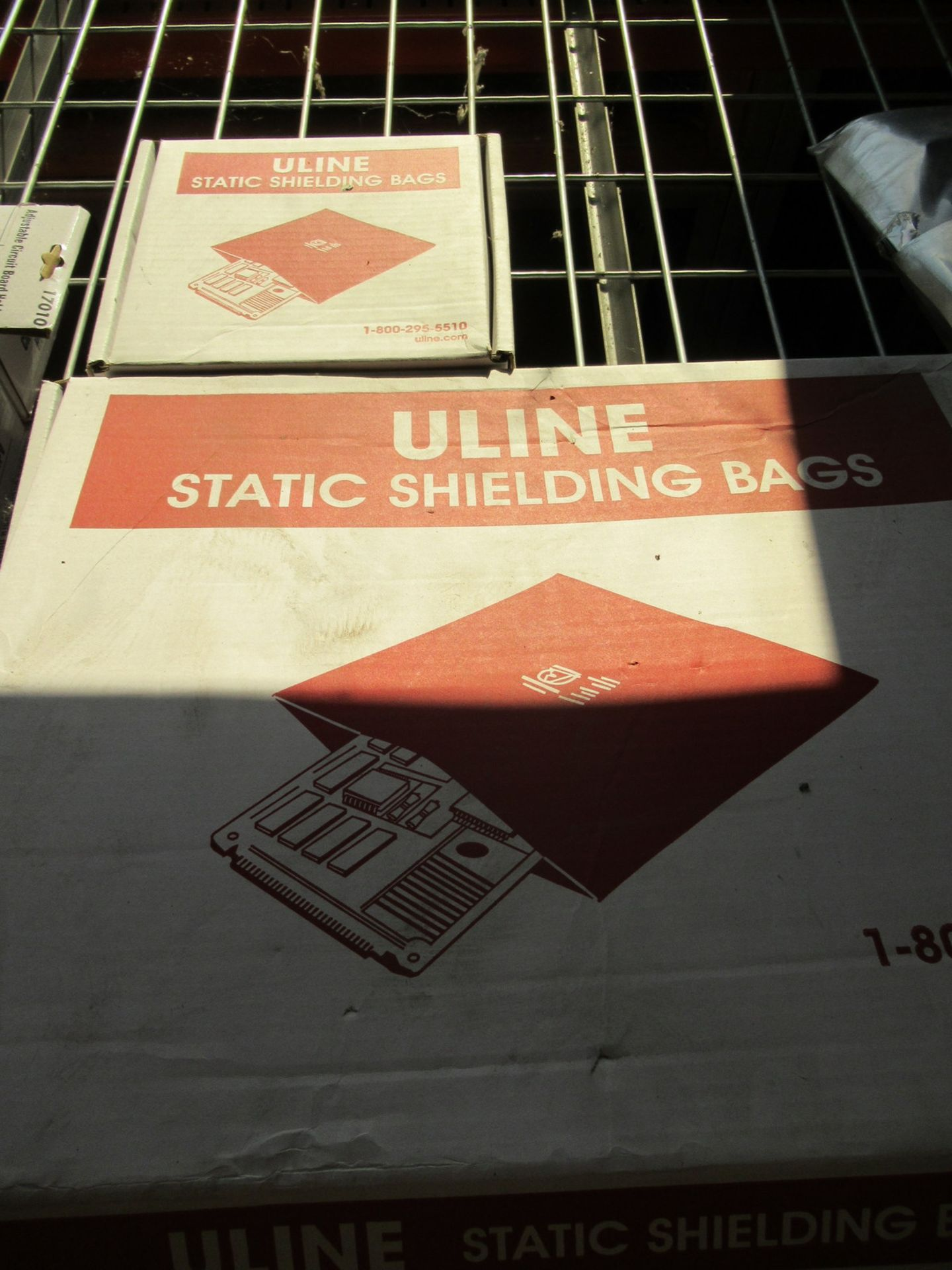 Lot 232 - Aven Adjustable Circuit Board Holders, Uline Static Shielding Bags, and Assorted Cables and Wires