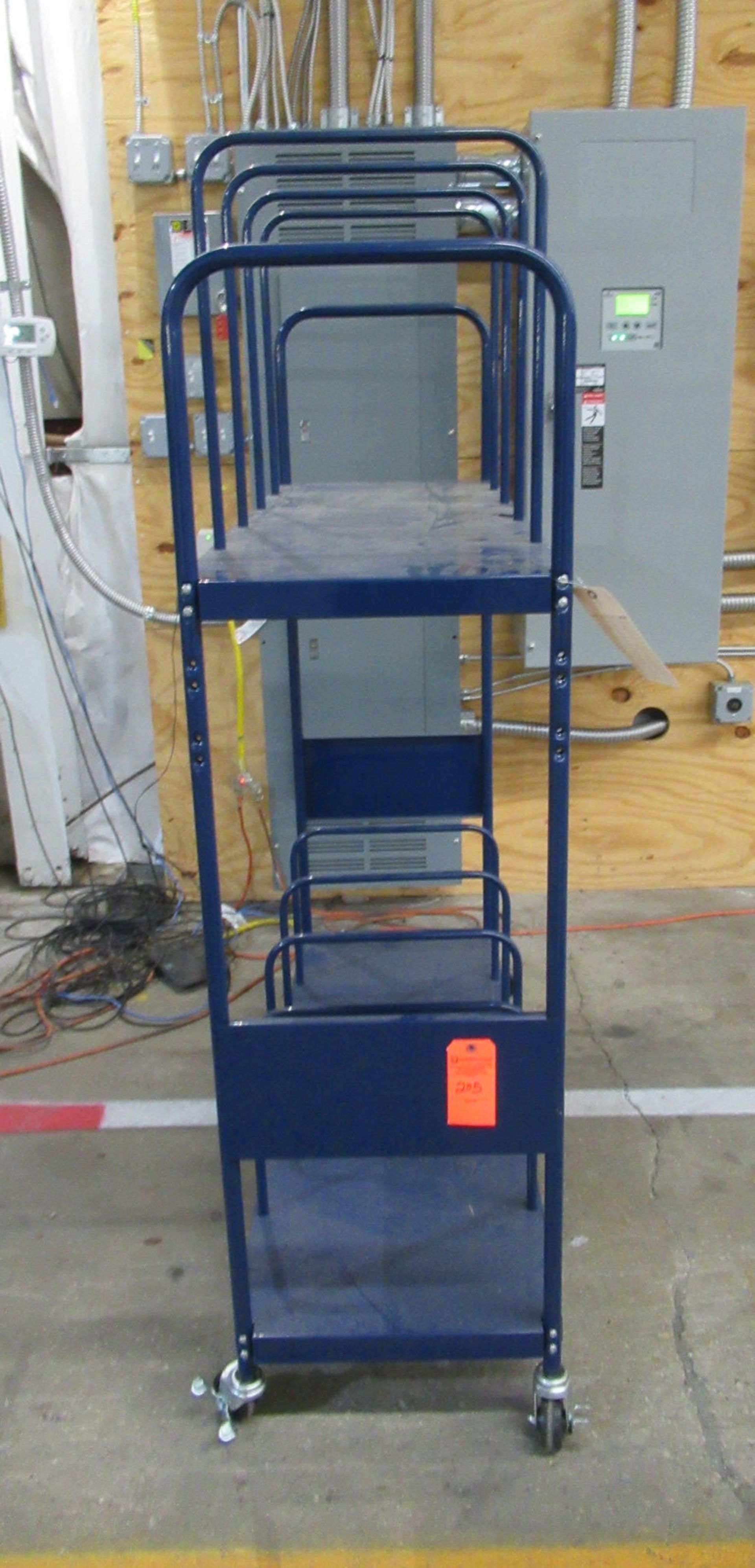 "Lot 205 - Blue Steel Shipping Cart 18"" W x 51"" L x 67"" H"