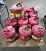 Lot 980 - Justrite 7150100 7150200 Lot of 13 5 Gallon Gas Cans 12 Red 1 Yellow