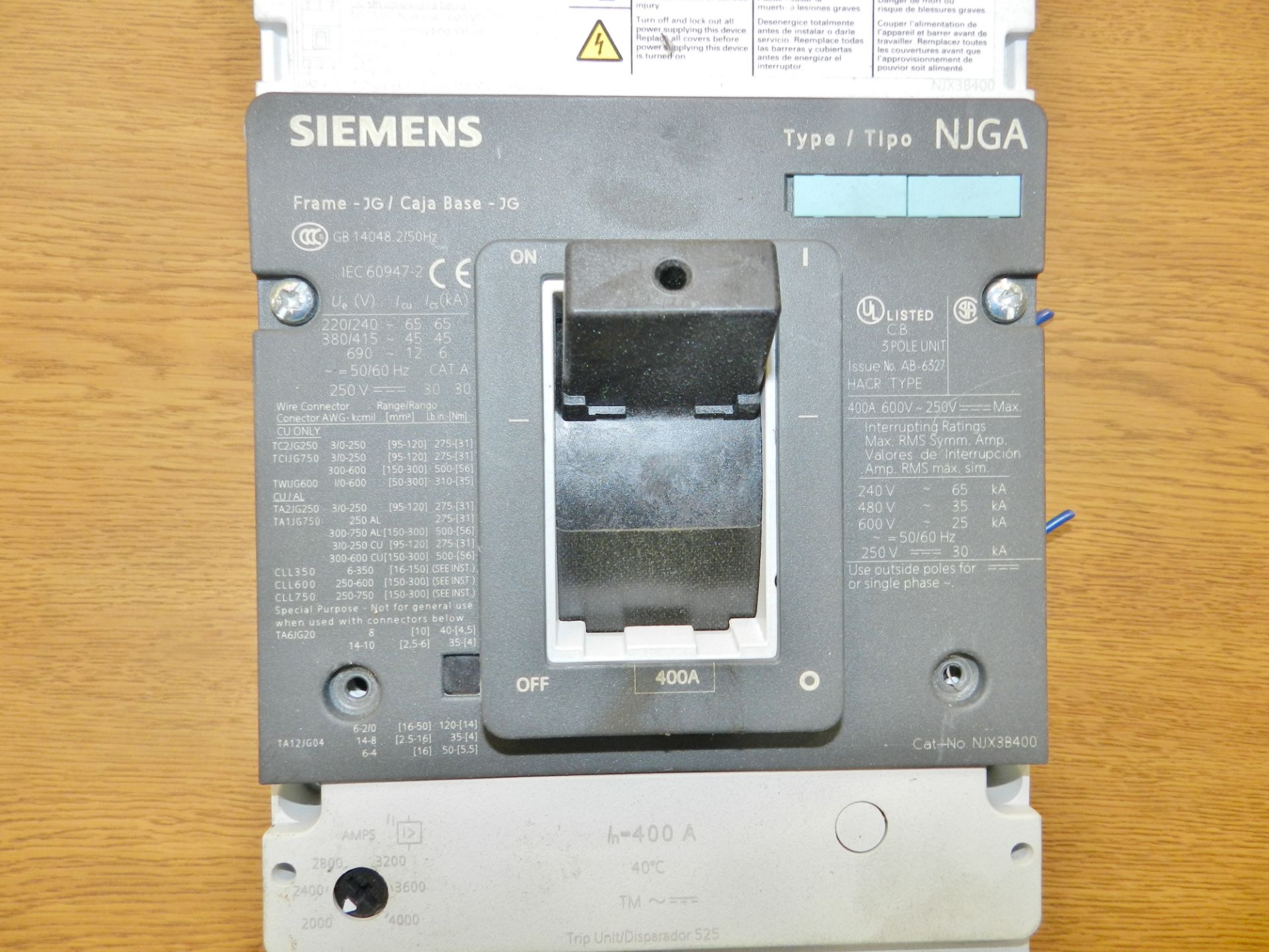 Lot 2 - Lot of 10 Siemens Breakers (175A-800A)