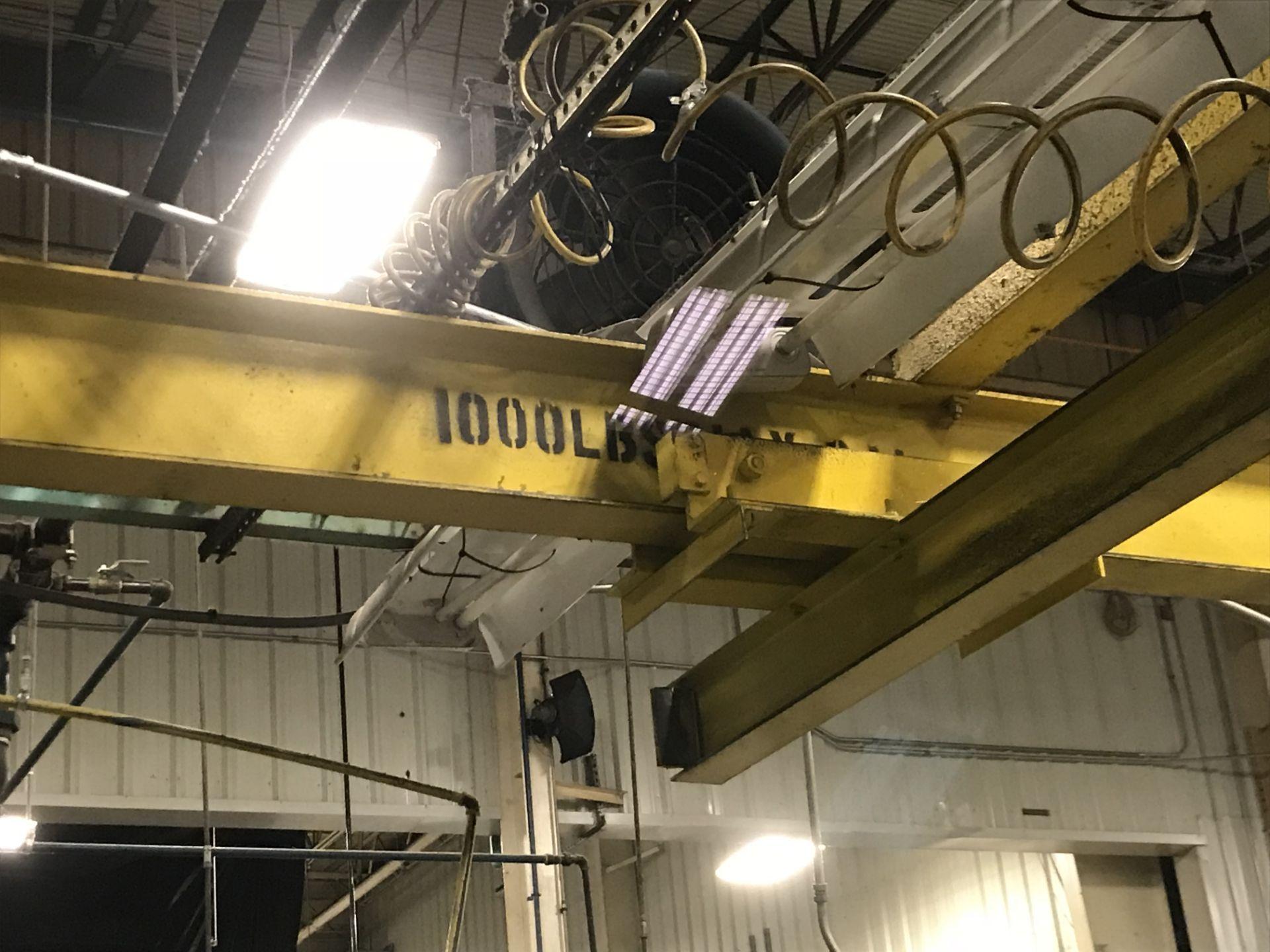 Lot 40 - 1000 lb Free Standing Bridge Crane (2) 500 lb Bridges w/ Hoist