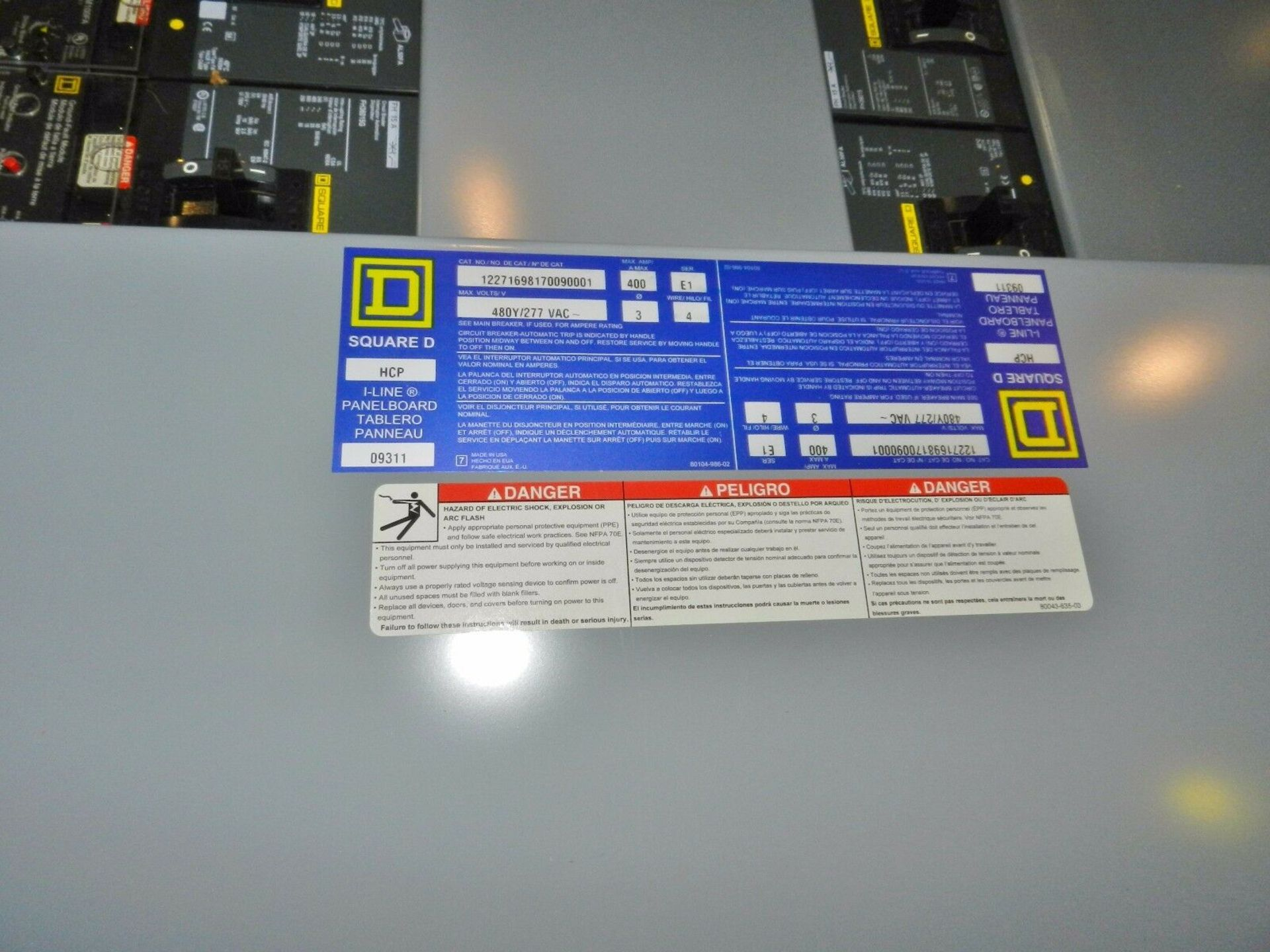 Lot 13 - Square D HCP I-Line Panelboard w/ 400 Amp Breakers